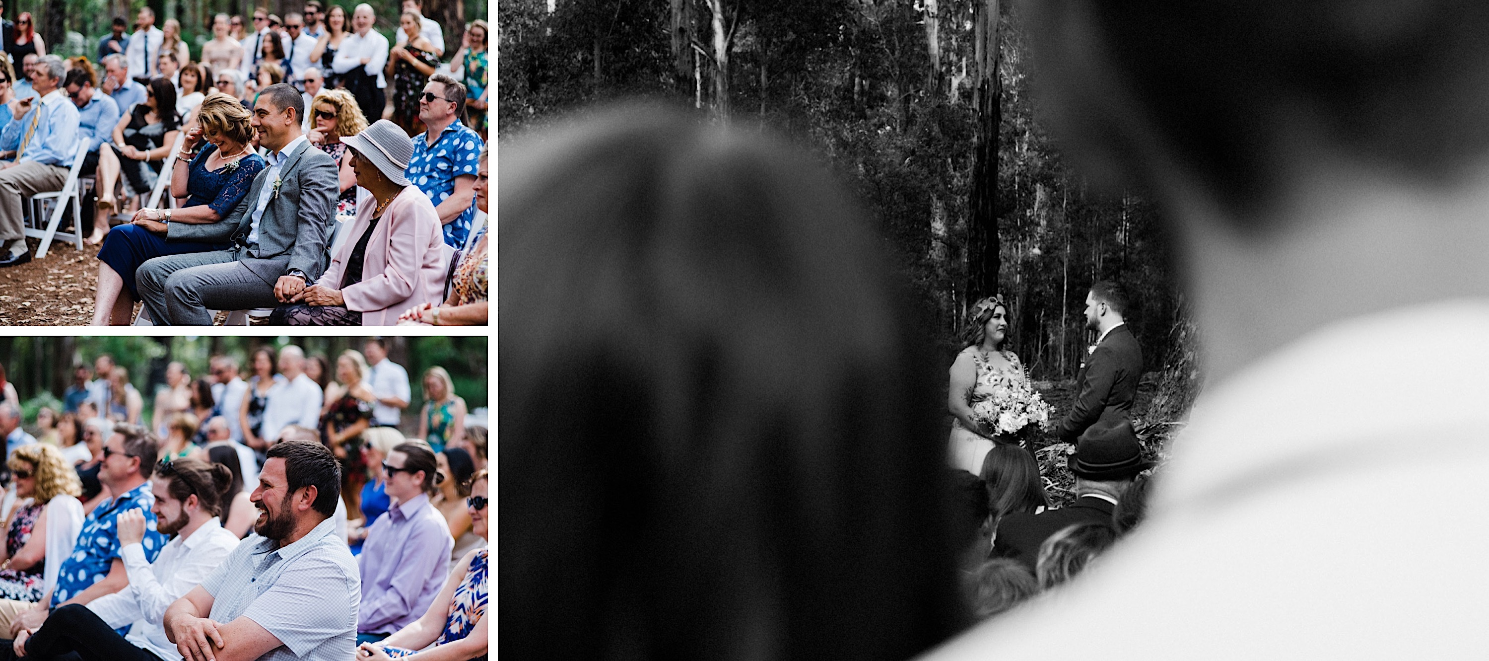 Candid wedding photography of guests at a country wedding ceremony in Western Australia.