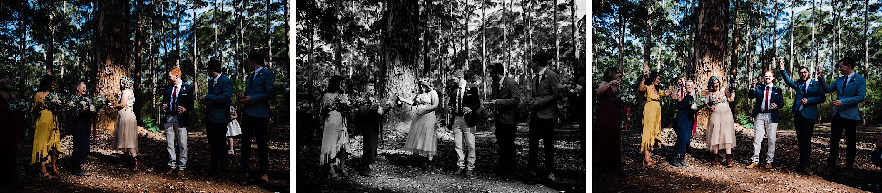 A tryptich of the bride popping a bottle of prosecco at the end of her Donnelly River wedding ceremony.