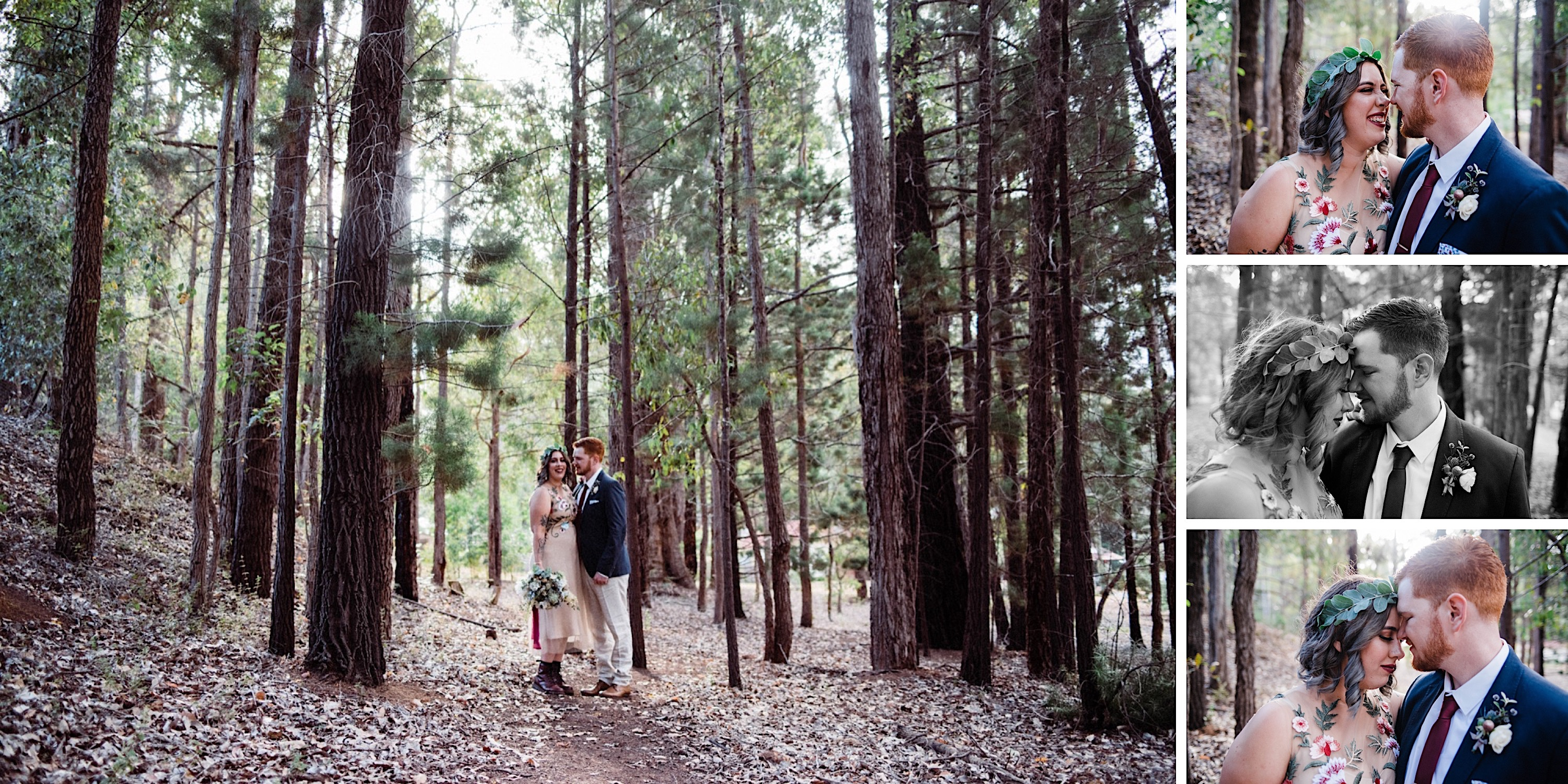 Donnelly River Wedding Photography of the bride & groom in a pine forest.