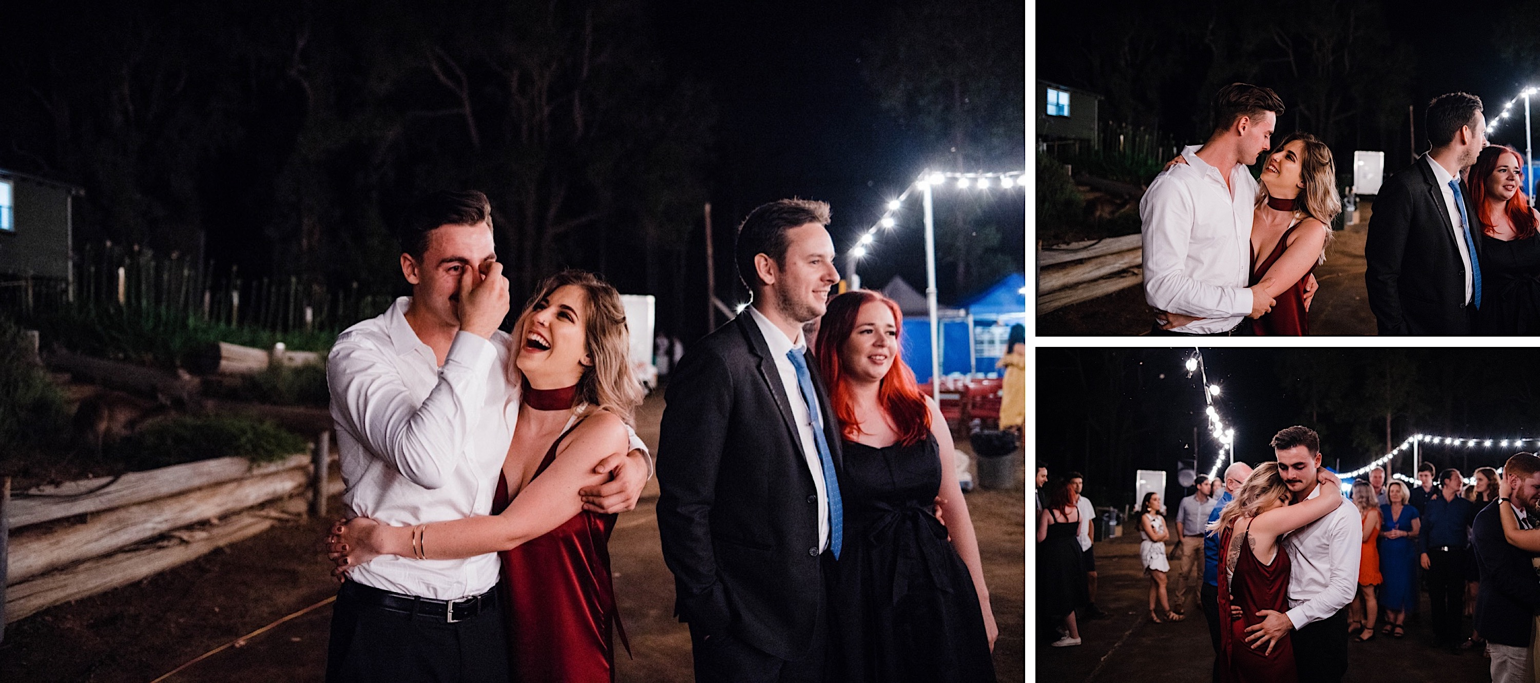 Photos of wedding guests laughing and dancing during a Donnelly River Wedding Reception.