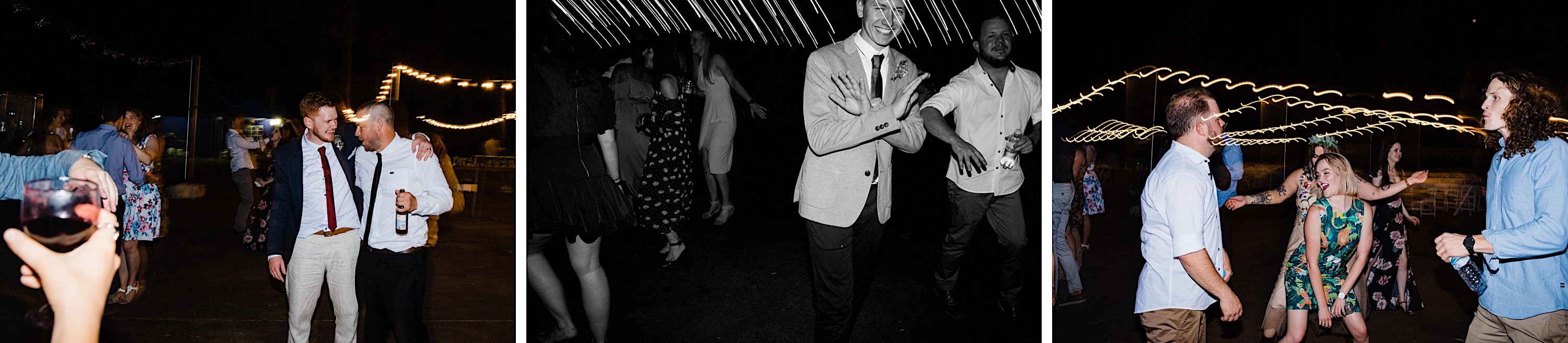 Photos of guests dancing at a Donnelly River Wedding Reception.