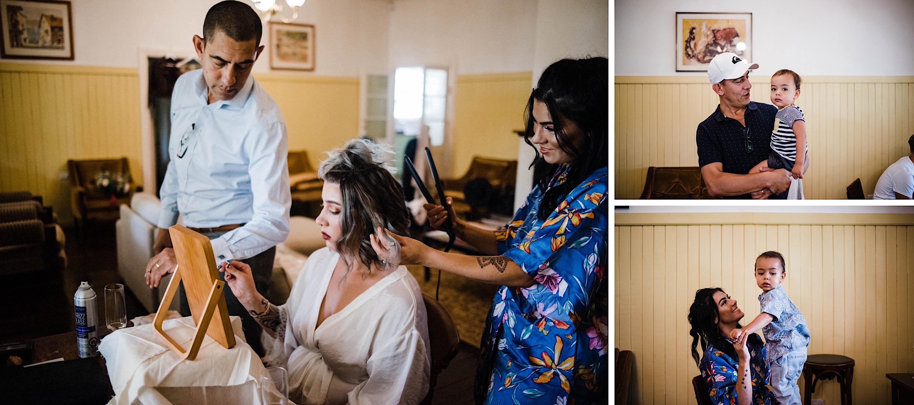 Photos of the bride's family and the bride while she gets ready.