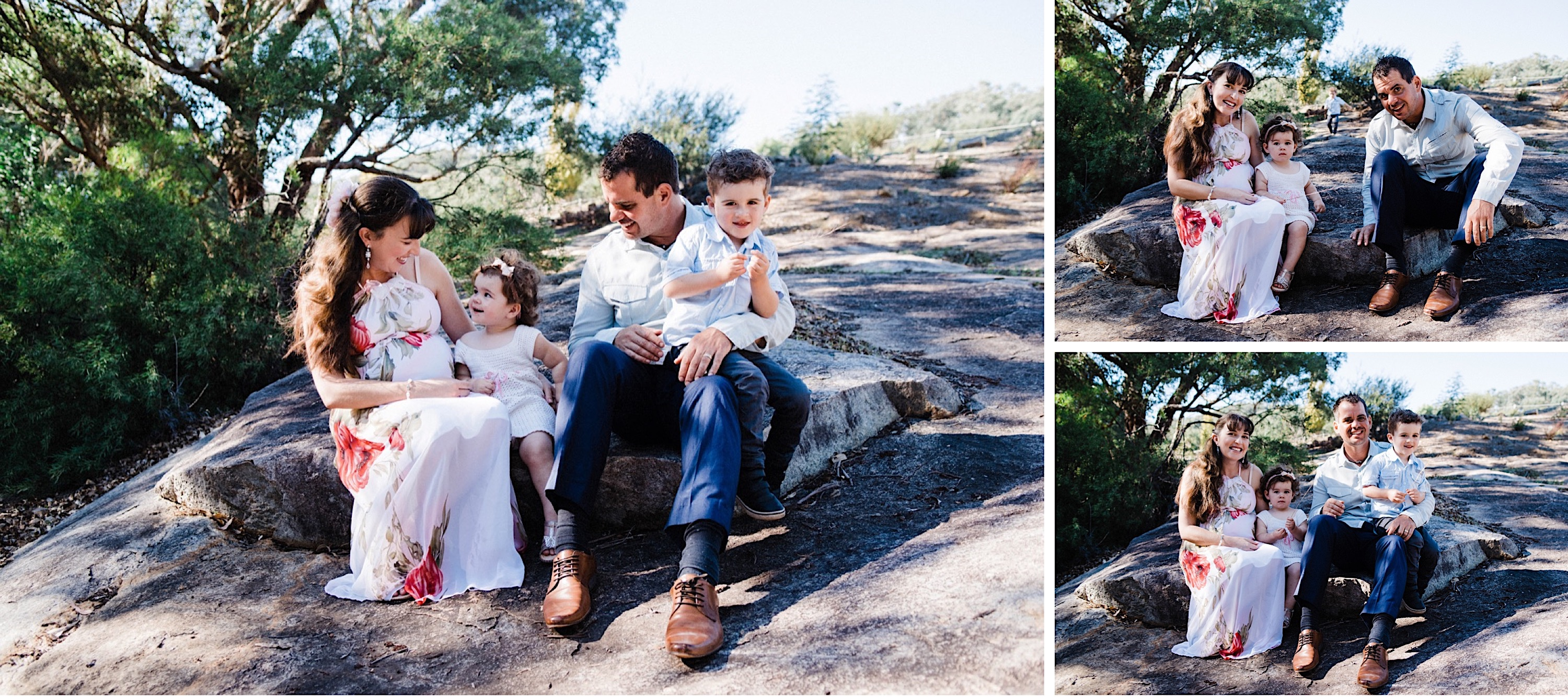 A group of photos taken by a Roleystone Lifestyle Family Photographer of a young family sitting together and smiling at the camera.
