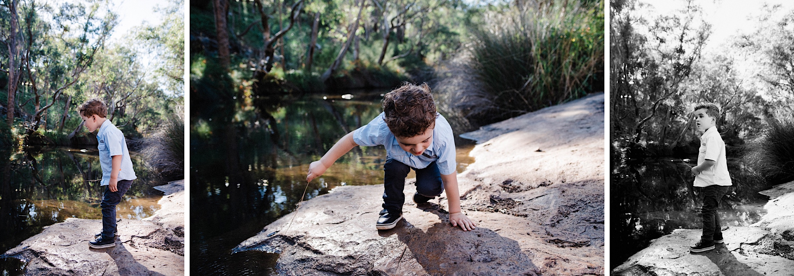 A few candid photos of a little boy as he climbs around a rock taken by a Lifestyle Family Photographer.