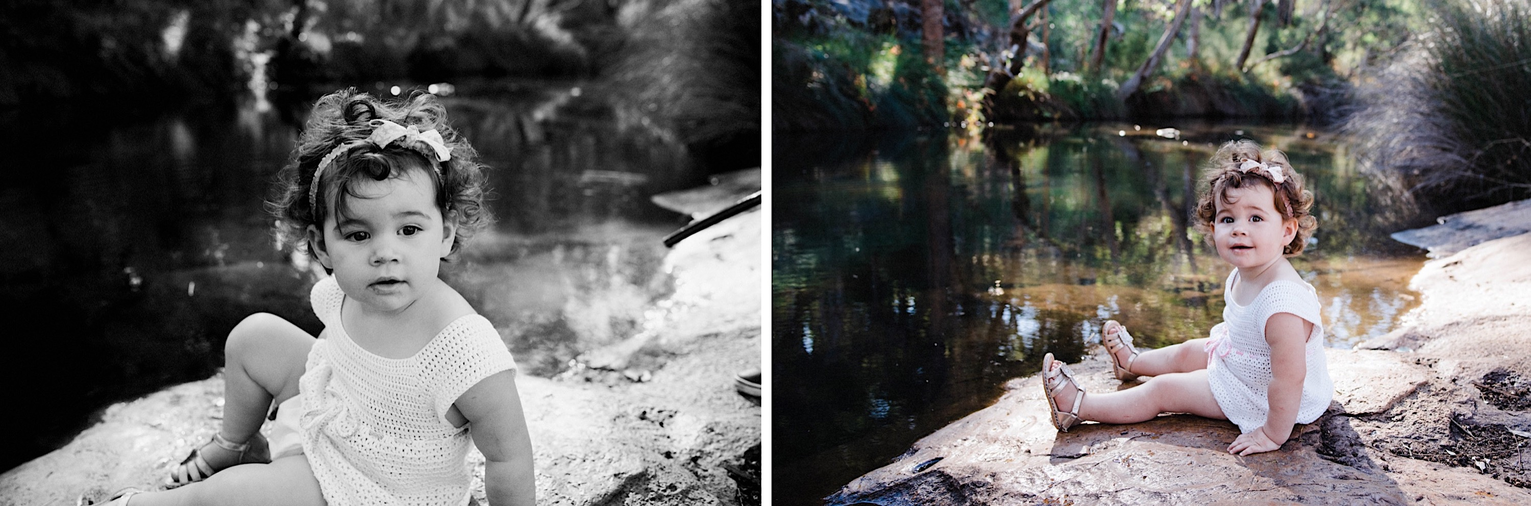 Two photos of a little girl duing a lifestyle family portrait session as she sits on a rock by a creek in Roleystone, Western Australia.