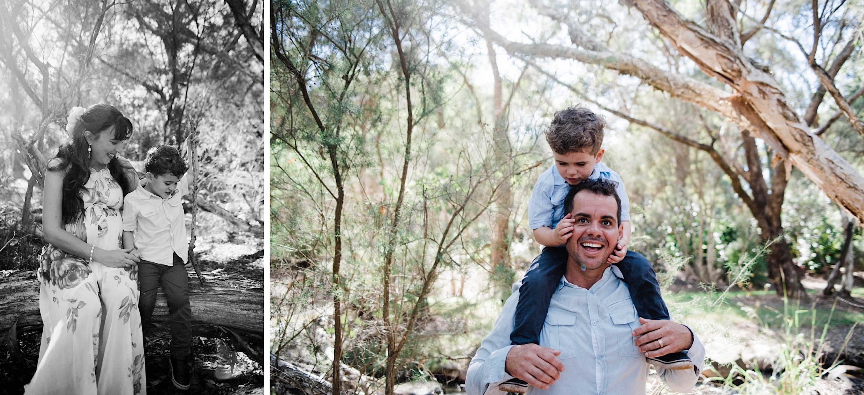Two photos taken by a Lifestyle Family Photographer of a little boy, one sitting next to his Mum, the other as he sits on his Dad's shoulders.