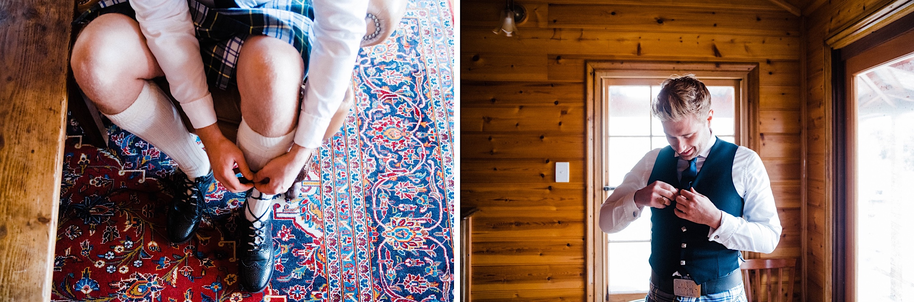 Two photos side-by-side. On the left, the groom ties up his Scottish shoes, on the right, he buttons up his waistcoat.