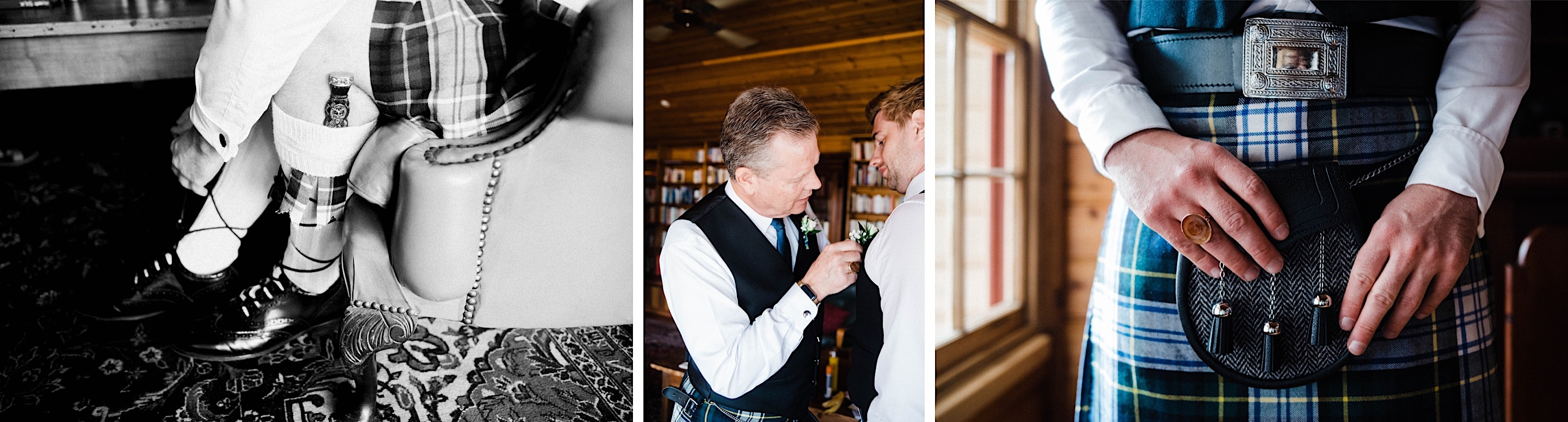 Documentary wedding photography of the groom getting ready. In the first black & white photo, the groom ties his laces, in the second his Dad puts on his buttonhole, and in the third he holds his sporran in front of his kilt.