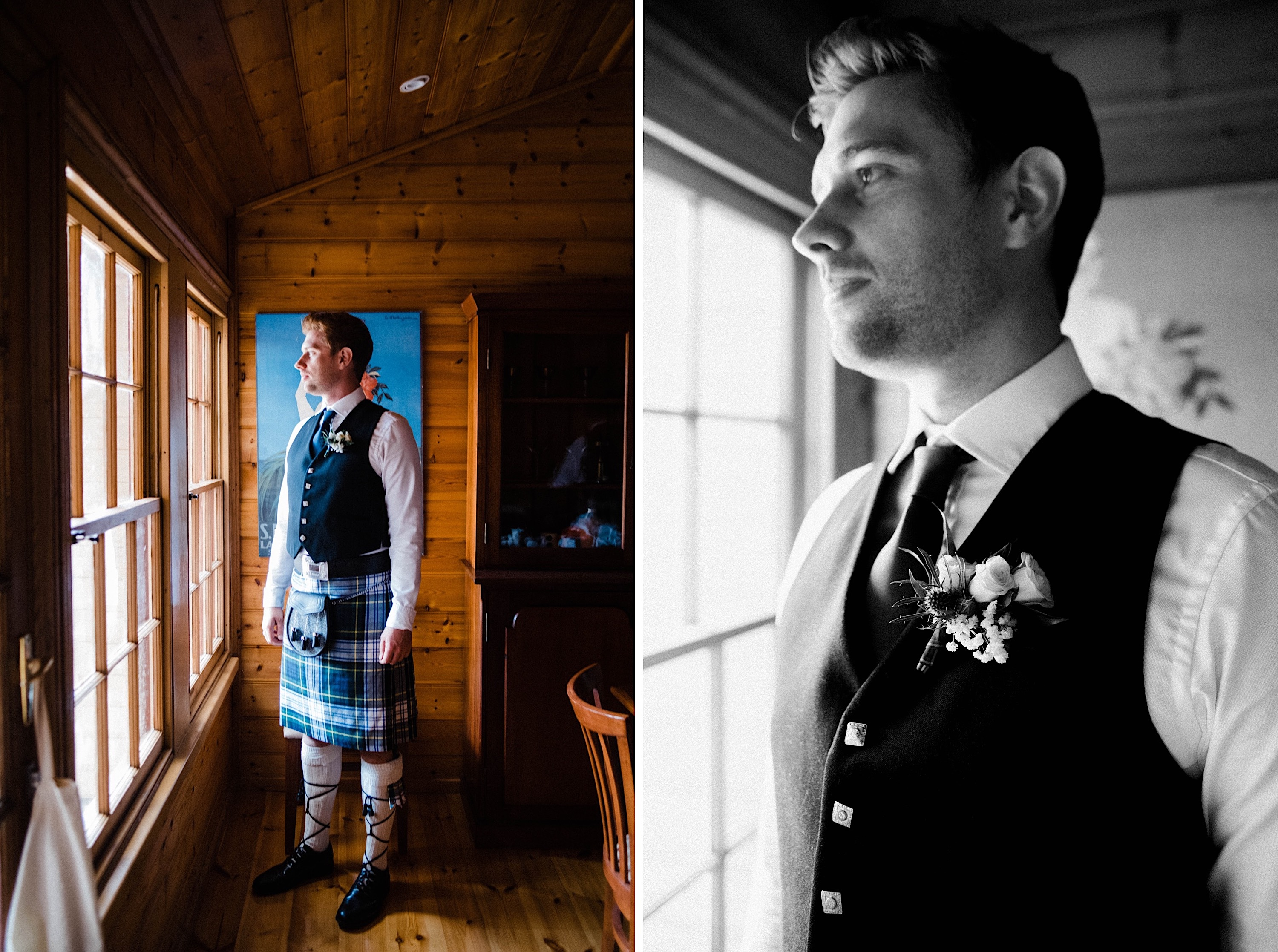 Two portraits of the groom dressed & ready for his wedding day in traditional Scottish clothing.