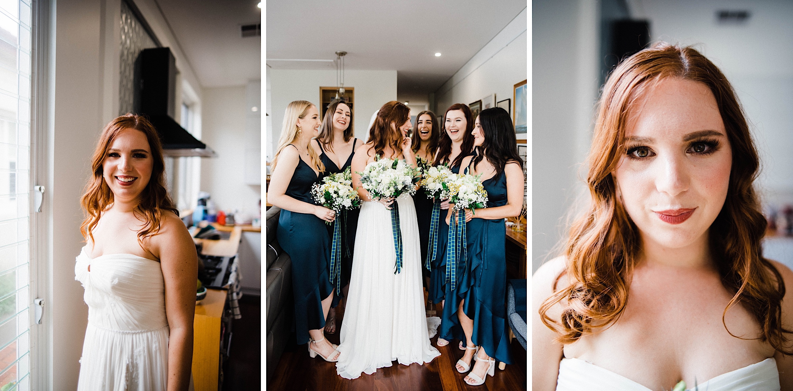 Three images from the bride's prep for a Sustainable Backyard Wedding. From Left to Right, the bride smiling at the camera, the bride surrounded by her bridesmaid's holding their bouquets with tartan ribbons, and a close-up portrait of the bride.