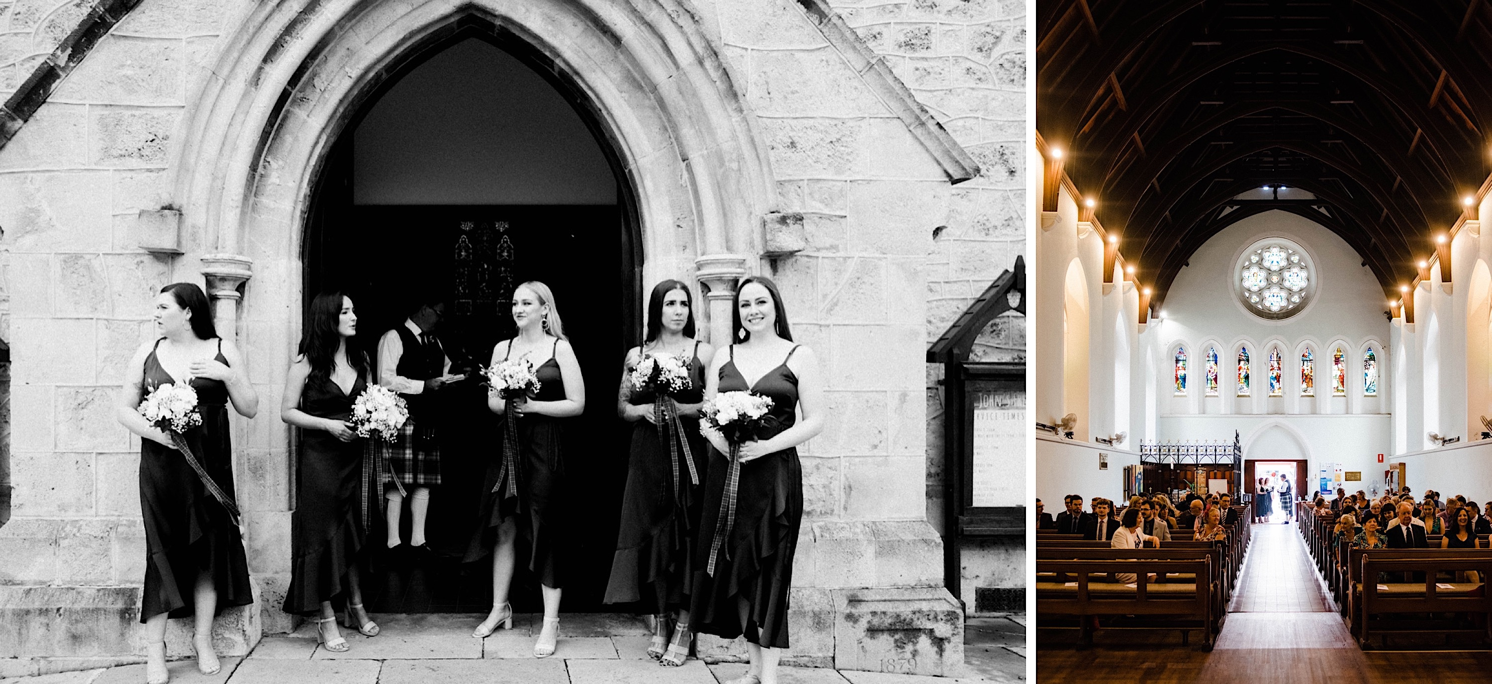 Documentary wedding photography of the bridesmaid's waiting for the bride to arrive outside the church, and of the interiors of St John's Anglican Church in Fremantle.