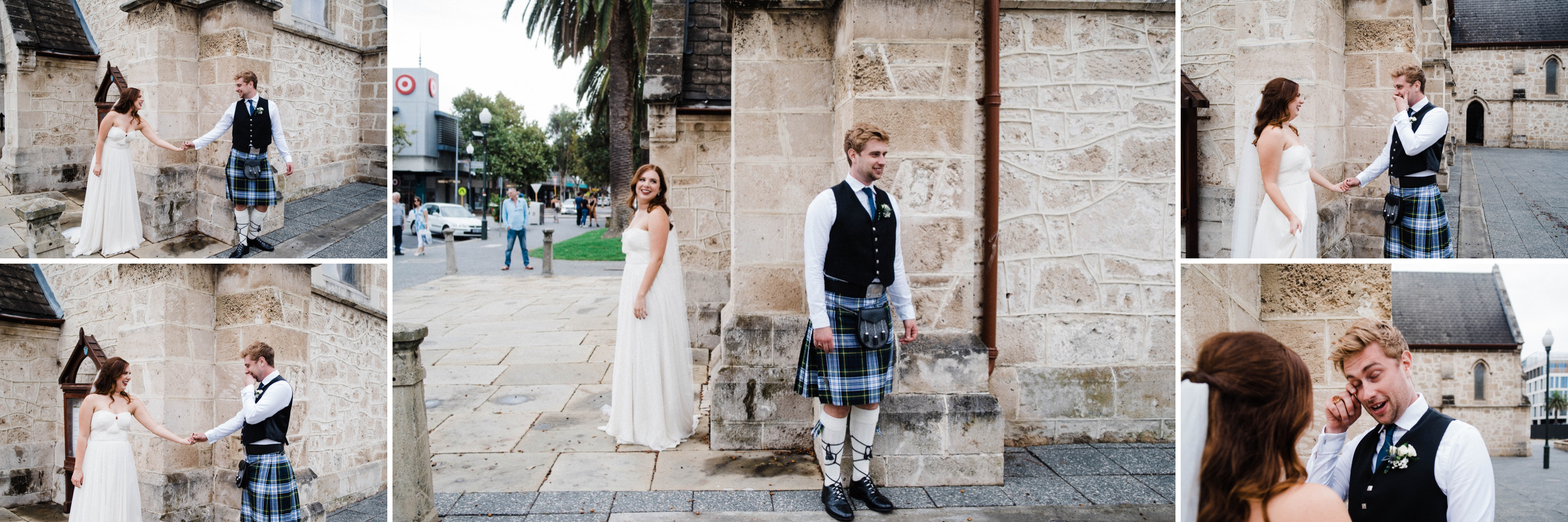 A collage of Documentary Wedding Photos of the bride & groom's first look outside of St John's Anglican Church in Fremantle.