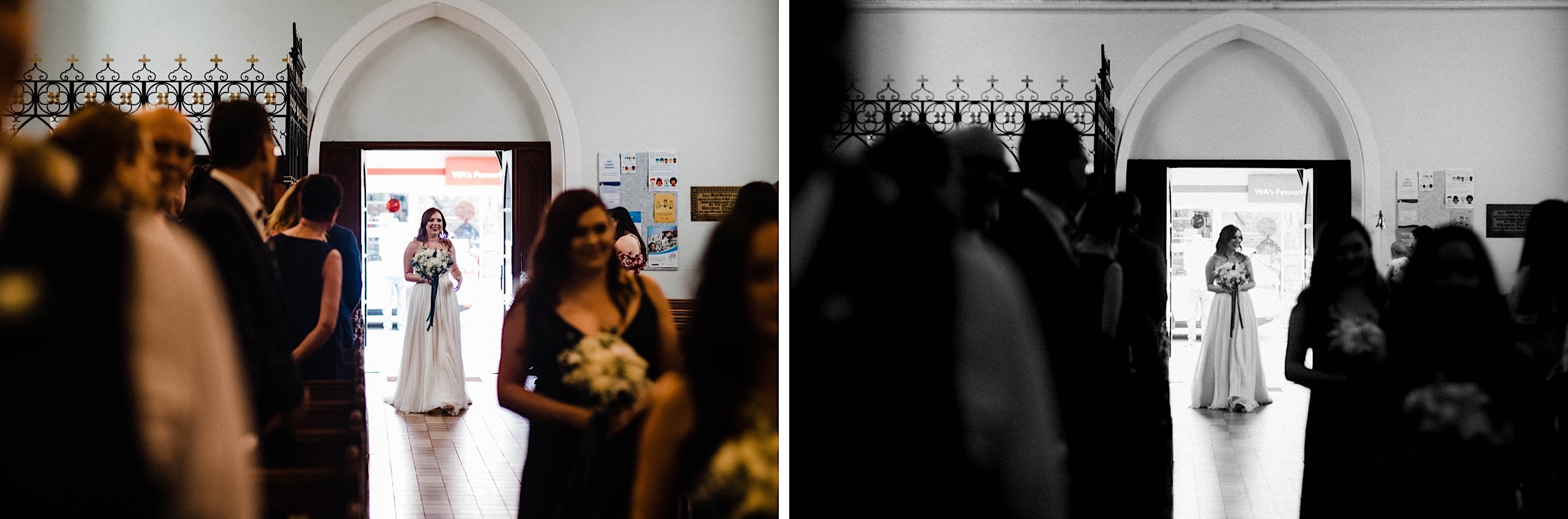 Two documentary wedding photos side-by-side of the bride entering St John's Anglican Church for her wedding ceremony.