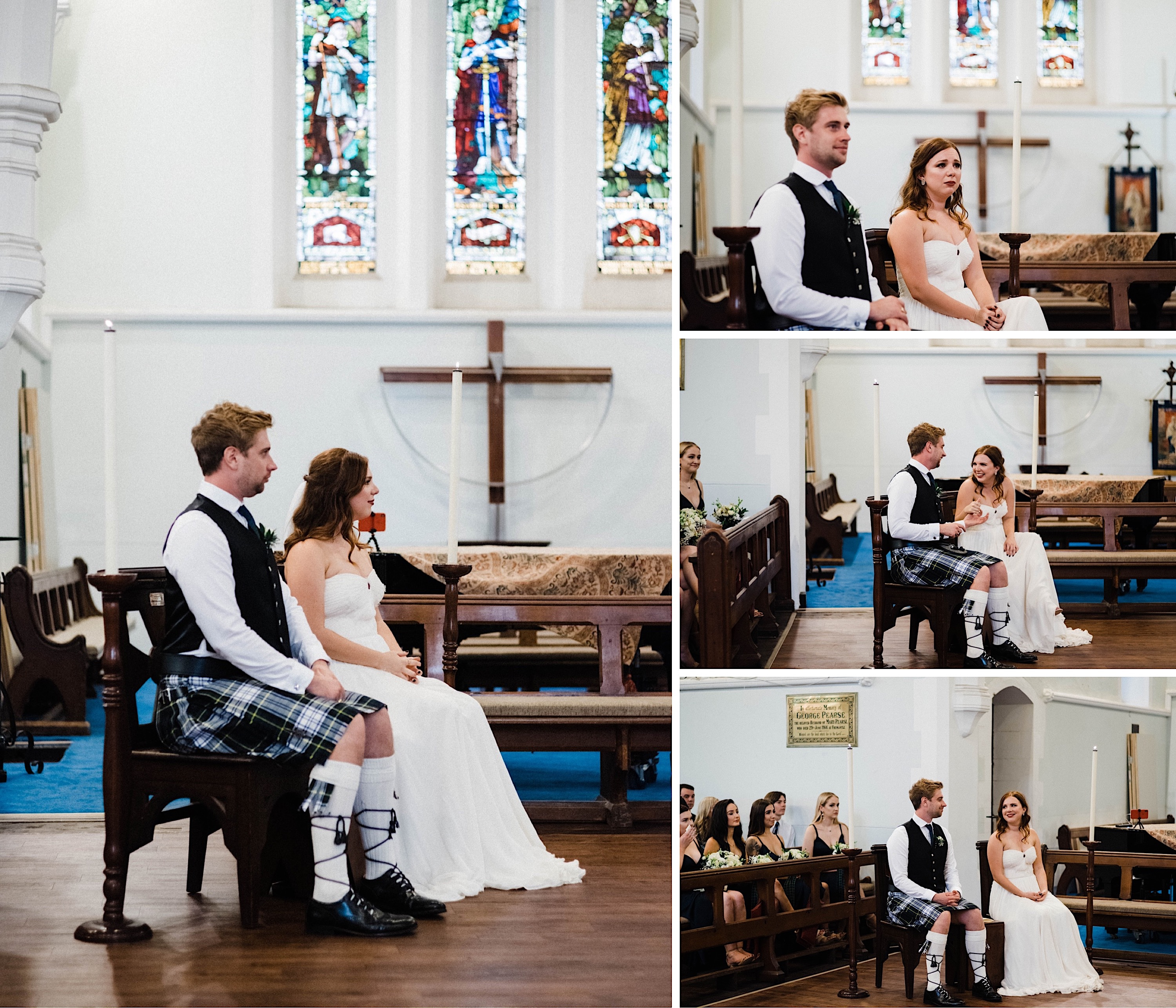 Four documentary wedding photos of the bride & groom sitting together at the front of the wedding ceremony at St John's Anglican Church.