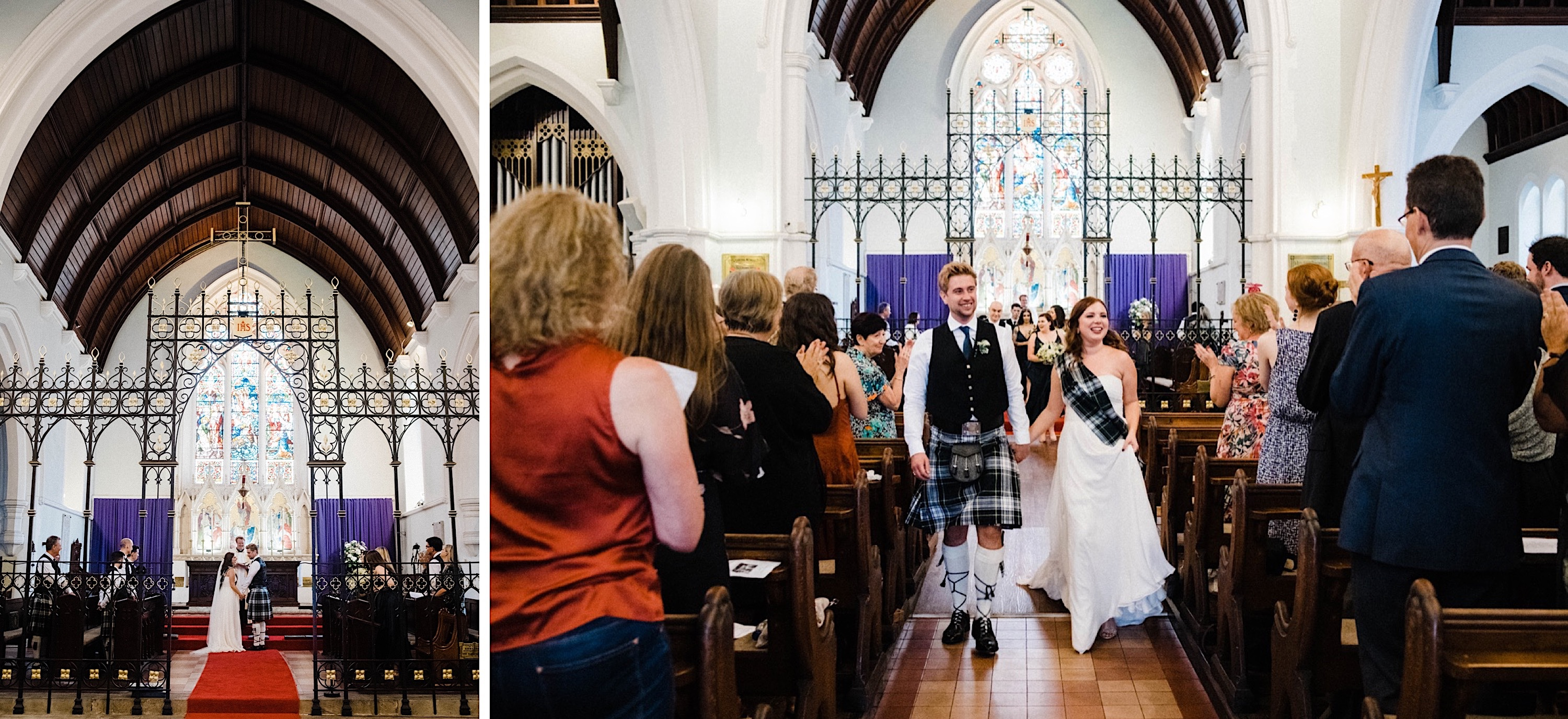 Documentary wedding photography of the bride & groom walking back down the aisle after their Wedding Ceremony at St John's Anglican Church.