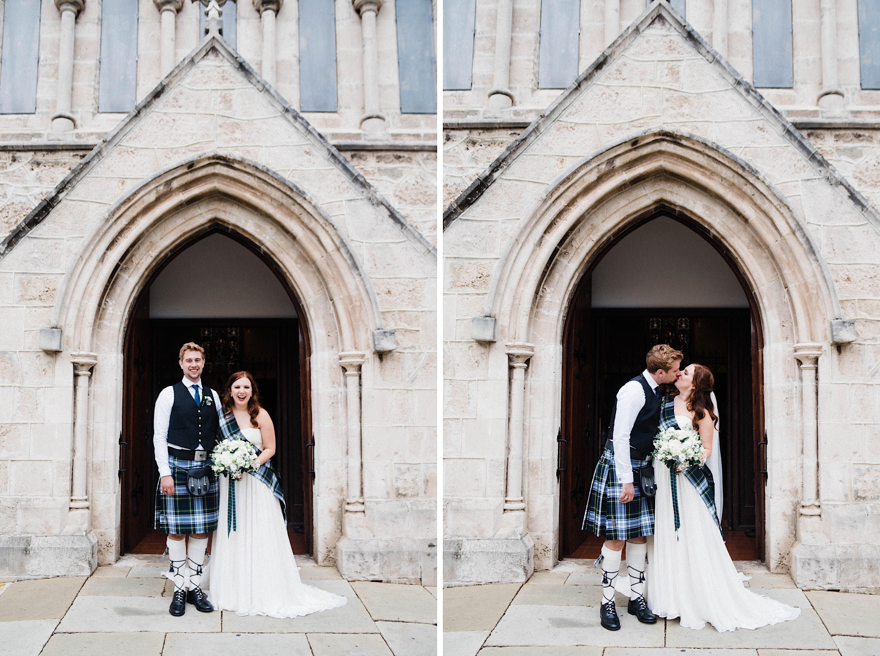 Two side-by-side wedding portraits of the bride & groom standing together outside St John's Anglican Church at the end of their wedding.