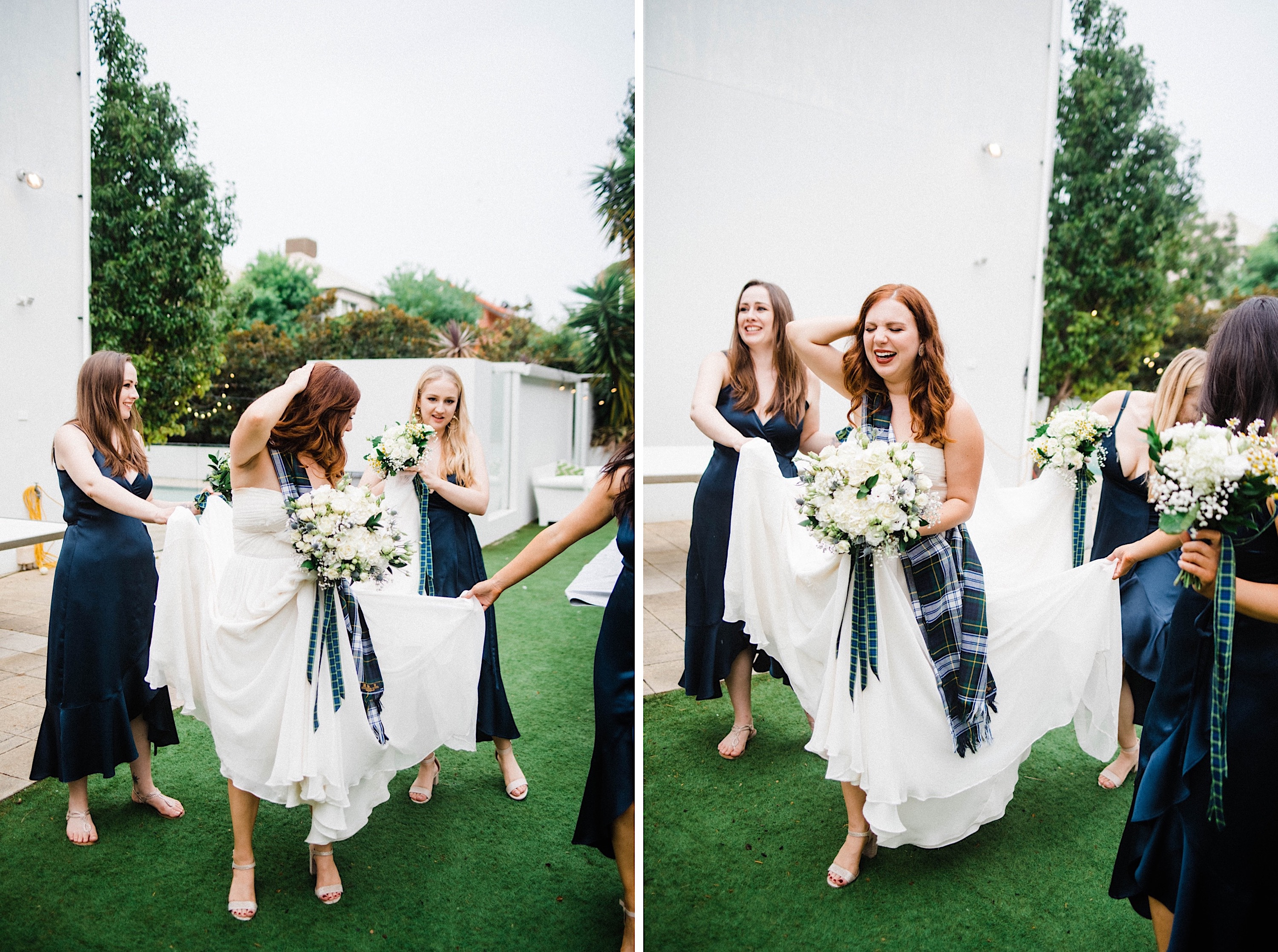 Two portrait photos of the bride laughing and walking at her Sustainable Backyard Wedding.