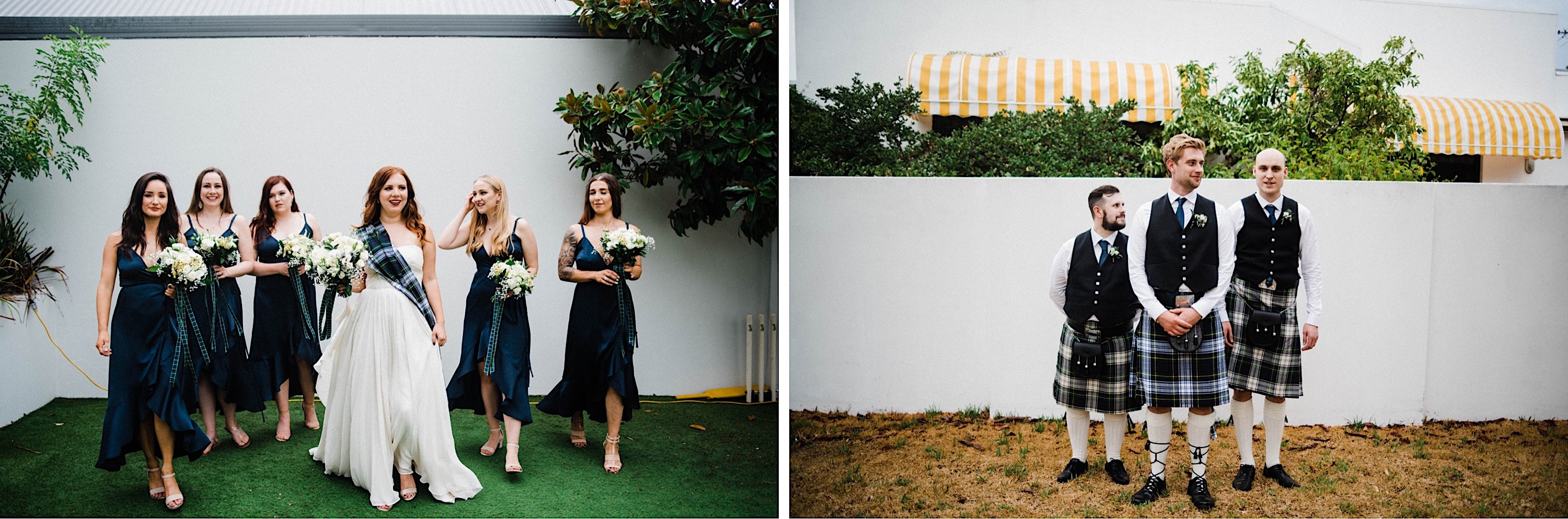 Two wedding portraits from a Sustainable Backyard Wedding. On the left, the bride walks alongside her bridesmaids and on the right, the groom stands with his groomsmen.