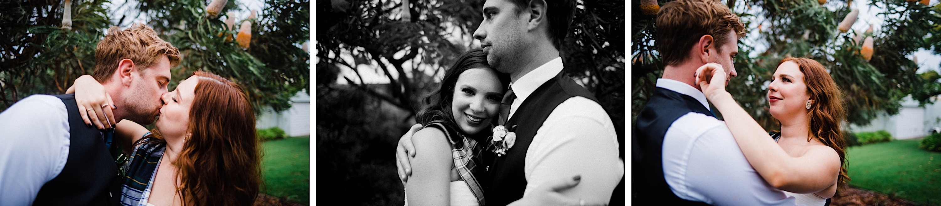 Three wedding portraits, one in black & white, of the bride & groom laughing and cuddling at their Sustainable Backyard Wedding in Nedlands.