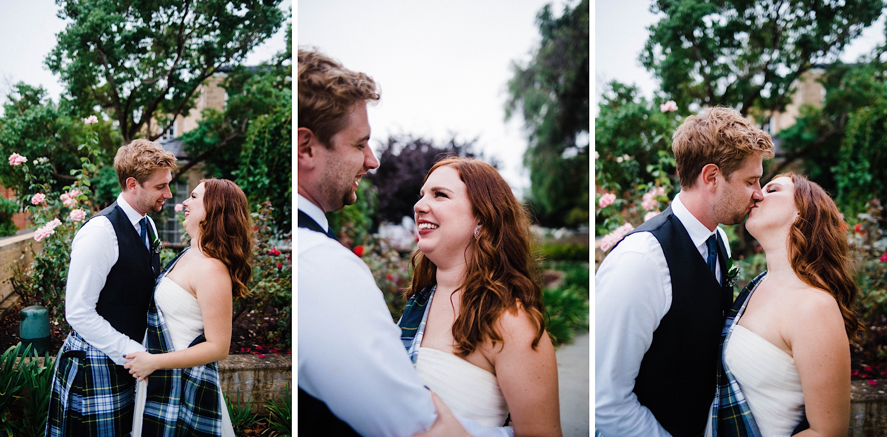Three Documentary Wedding Portraits of the bride & groom sharing a moment outside of their Sustainable Backyard Wedding in Nedlands.