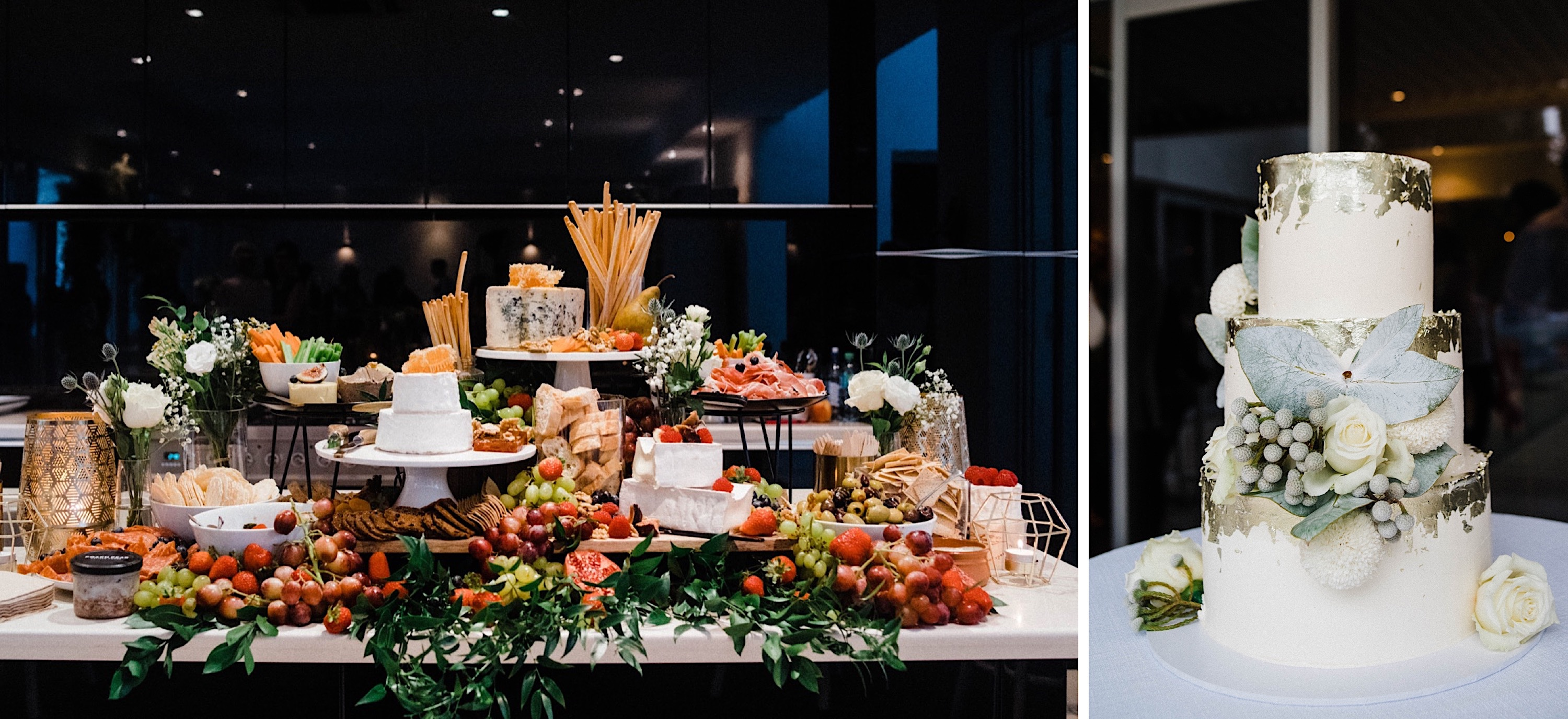 Two styled photos from Becky & Cal's Sustainable Backyard Wedding. On the left is a grazing table with no plastic, and on the right a gold leaf, three-tier cake.