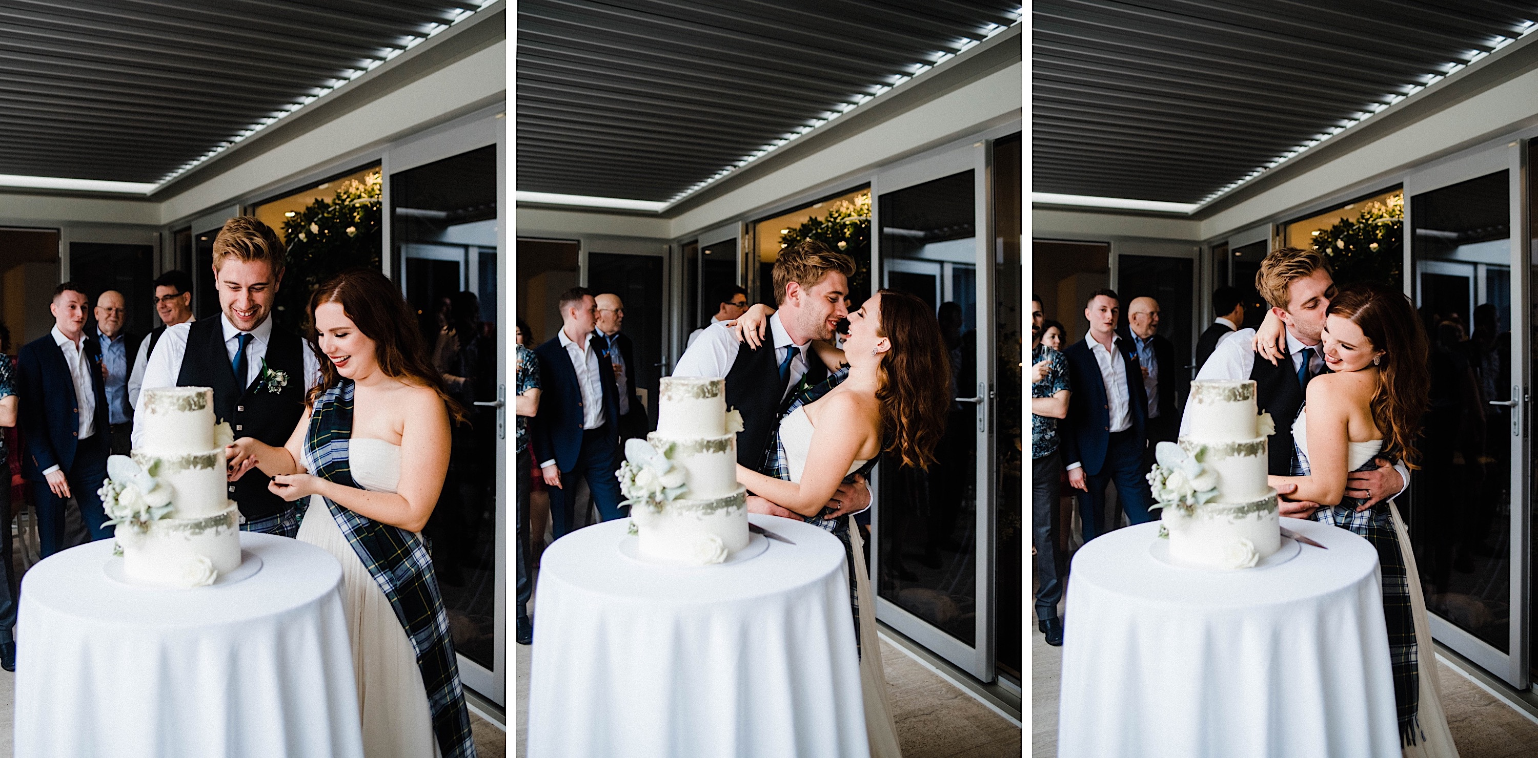 Three photos of the bride & groom cutting the cake at their Sustainable Backyard Wedding in Nedlands.
