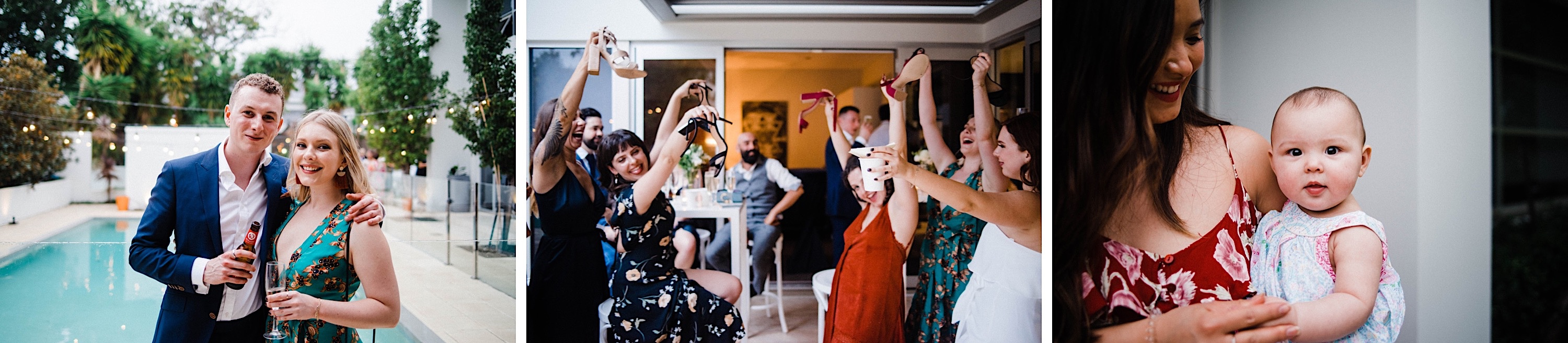 Three documentary wedding photos of guests at a Sustainable Backyard Wedding in Nedlands. On the left, a couple smile at the camera, in the middle women wave their heels in the air and on the right a Mum holds her baby.