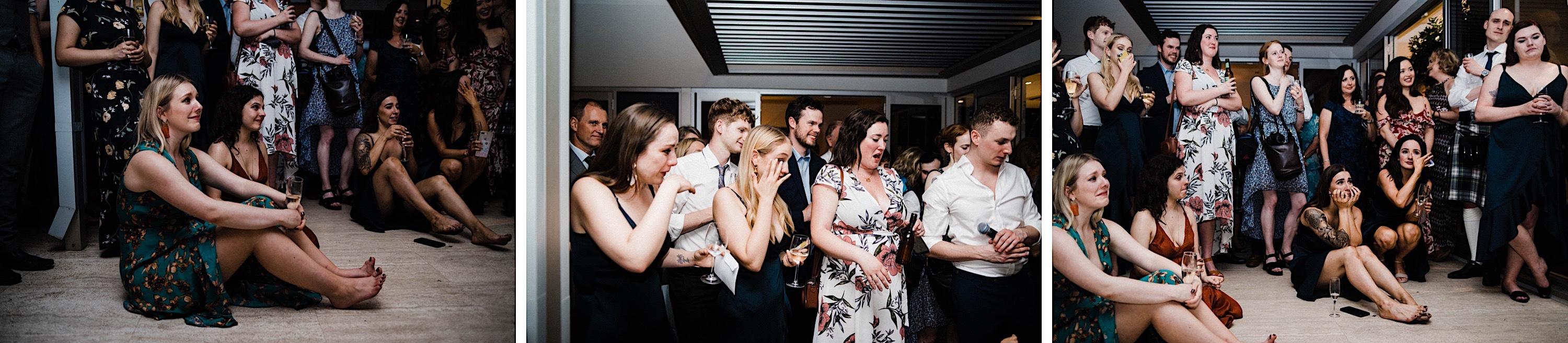 Candid wedding photography of guests laughing and crying during speeches at a Backyard Wedding in Nedlands.