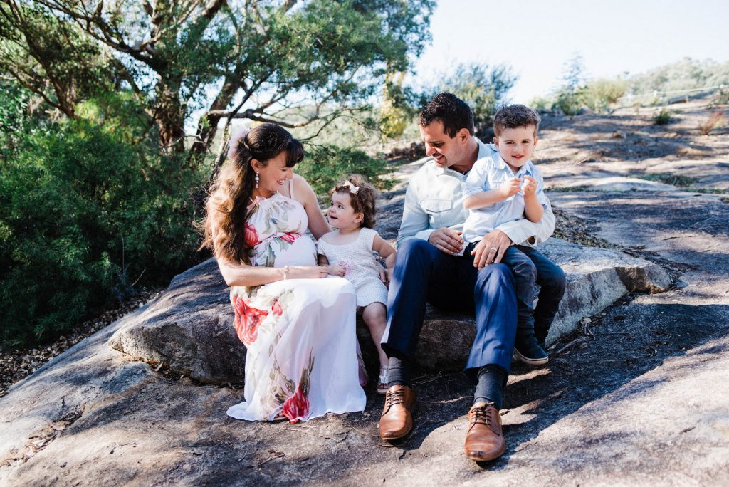 A candid family portrait of a young family taken in Roleystone by a Lifestyle Family Photographer,