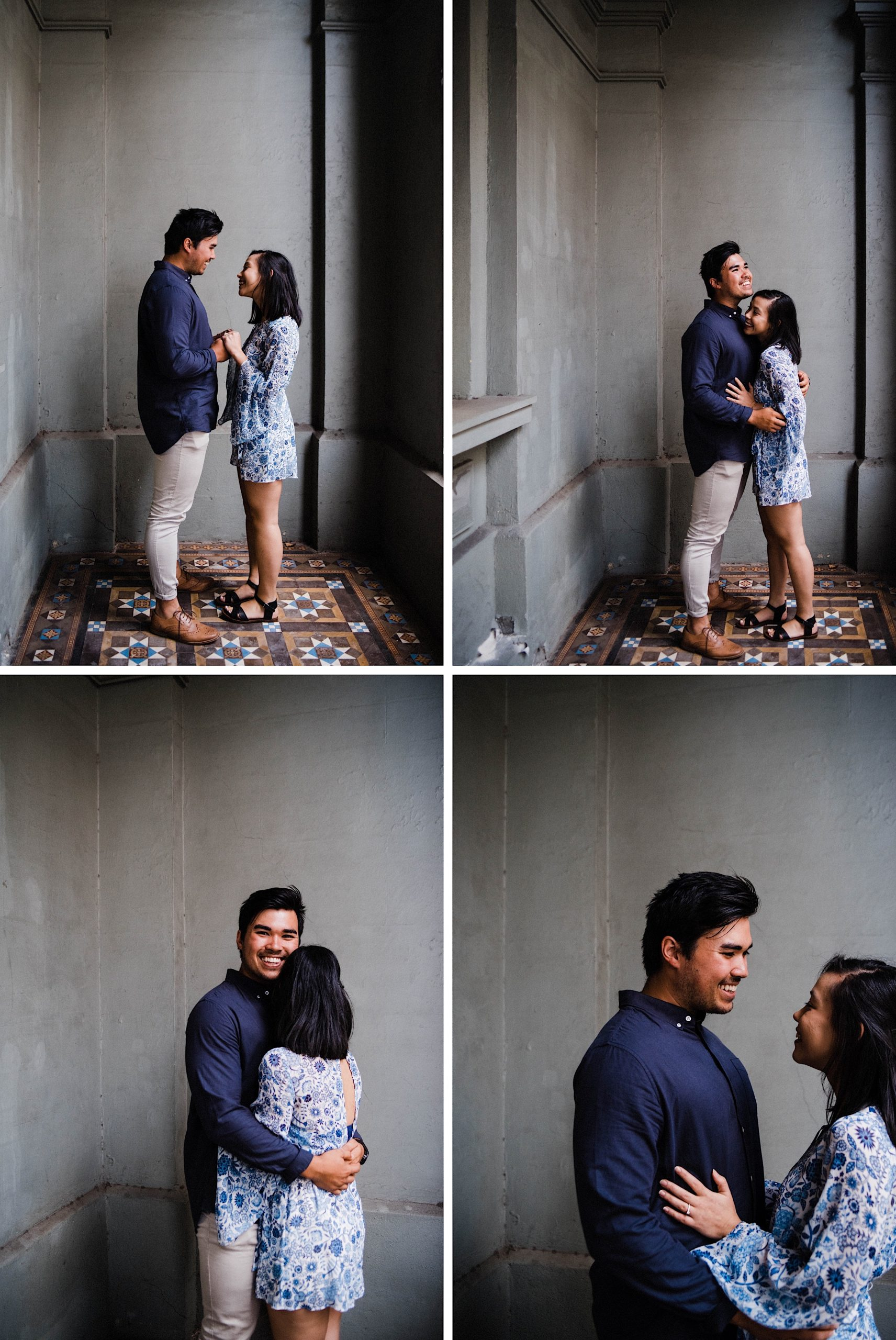 A four photo collage of a young couple hugging and laughing in front of an old building with detailed tiles and a dark blue wall in Fremantle.