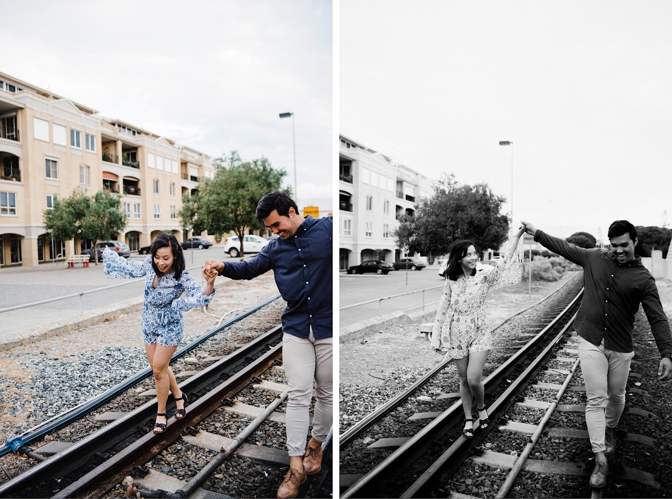 Two fun engagement photos, side by side, of a couple balancing on some unused train tracks and laughing.