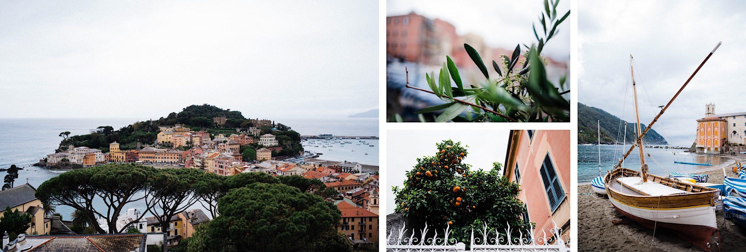 A four-photo collage of scenes from Sestri Levante, including the Baia di Silenzio.