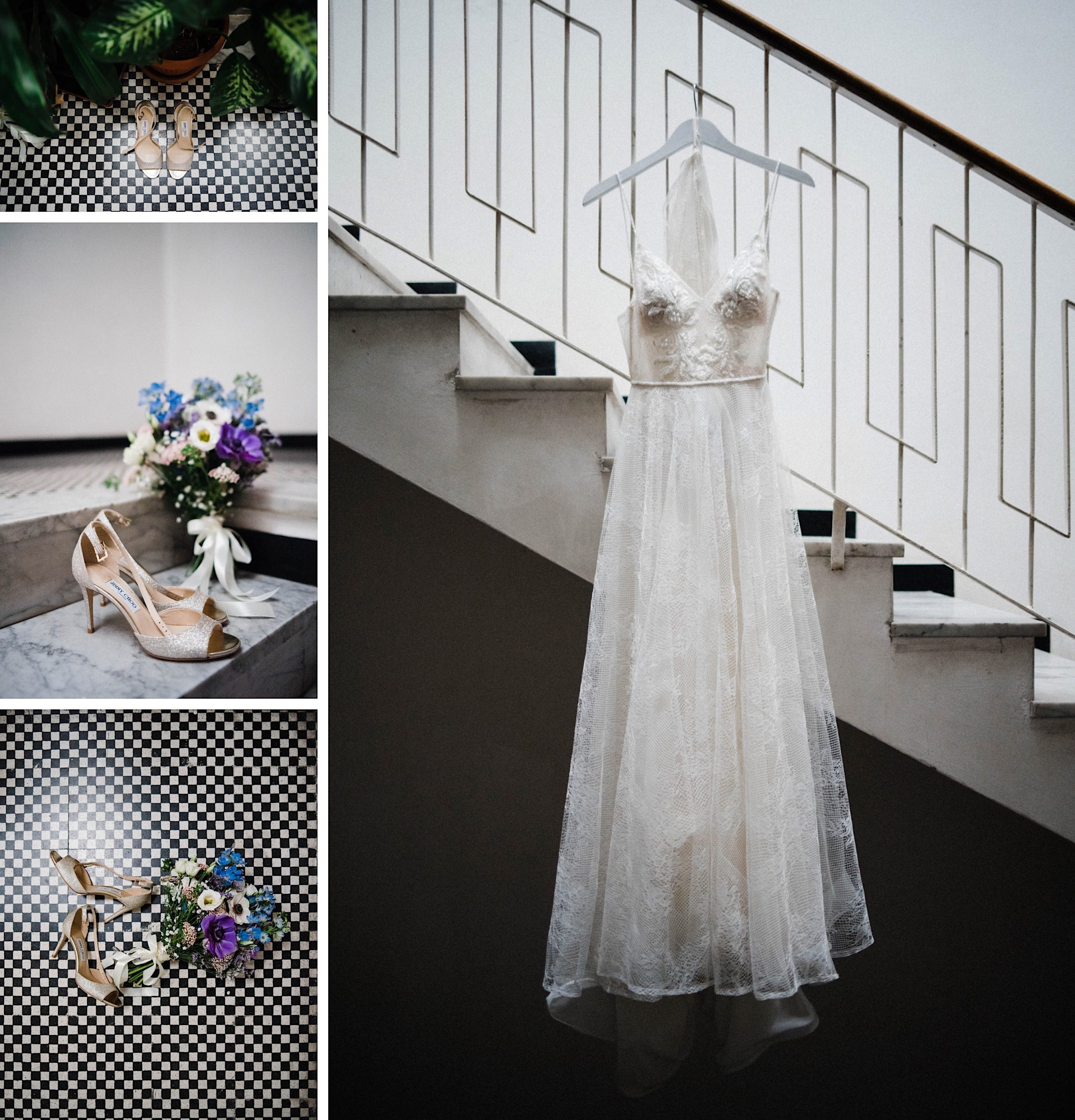 A collage of the Bride's details and dress before her Sestri Levante Wedding, including her Flora Bridal Gown hanging from a stairwell, gold Jimmy Choo shoes and a small bouquet.