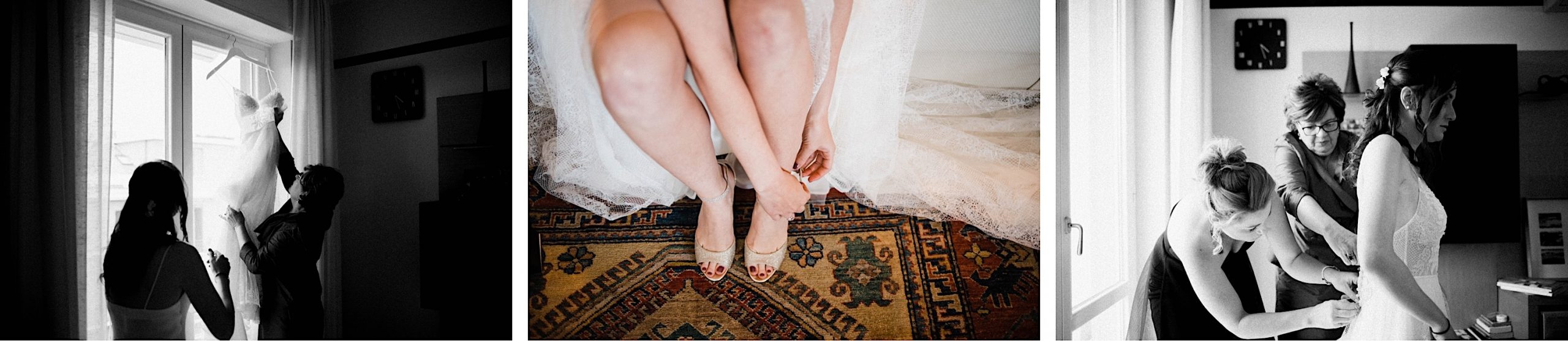 Three Destination Wedding Photos place side-by-side of a bride having her Flora Bridal Gown put on and putting her Jimmy Choo shoes on.