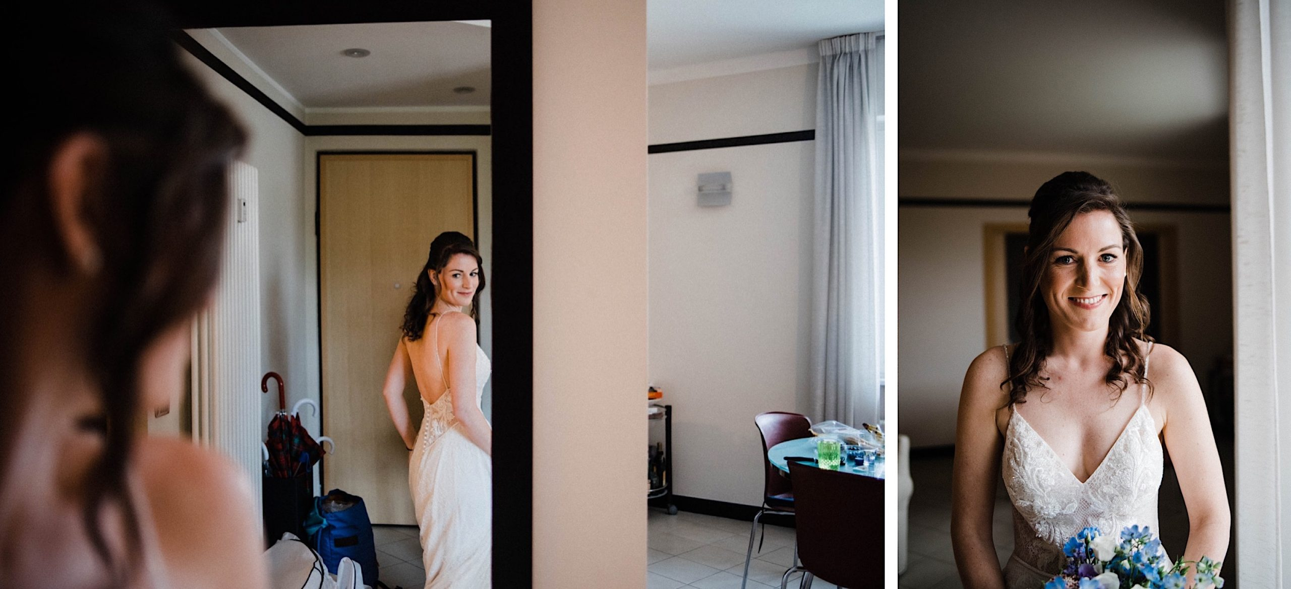 Destination Wedding Photography of a bride checking her dress in the mirror, and a classic portrait of her.