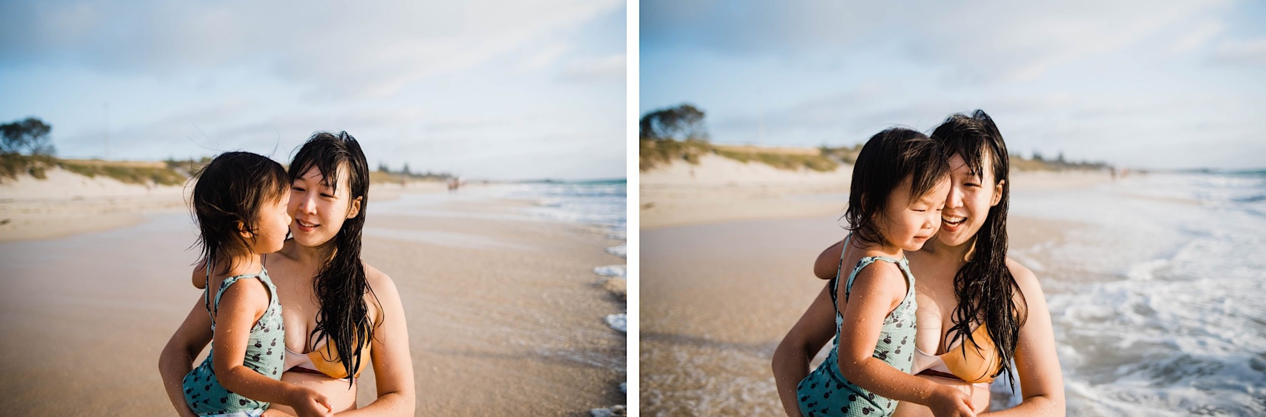 Two photos, side-by-side, of a Mum and her daughter standing on the beach at sunset as waves rush up the beach behind them.