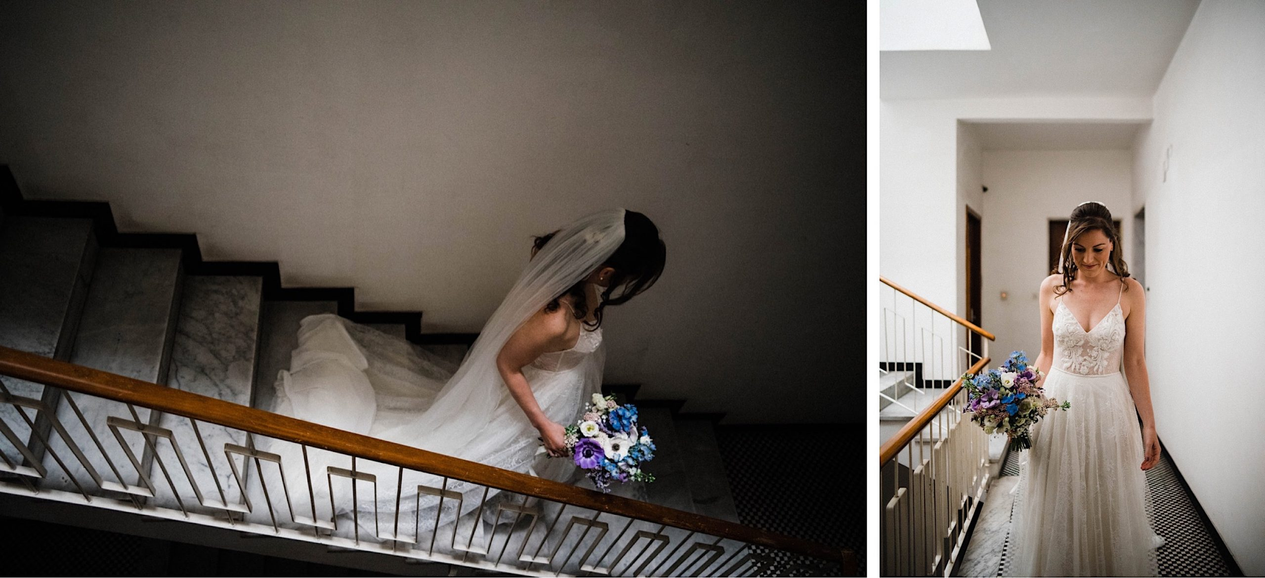 Documentary Wedding Photography of a bride walking downstairs in her Sestri Levante apartment.