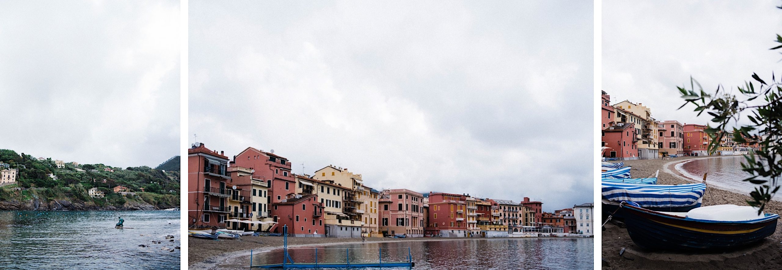 Three photos of Sestri Levante, including boats on the Bay of Silence and the facades of buildings along the Baia di Silenzio.