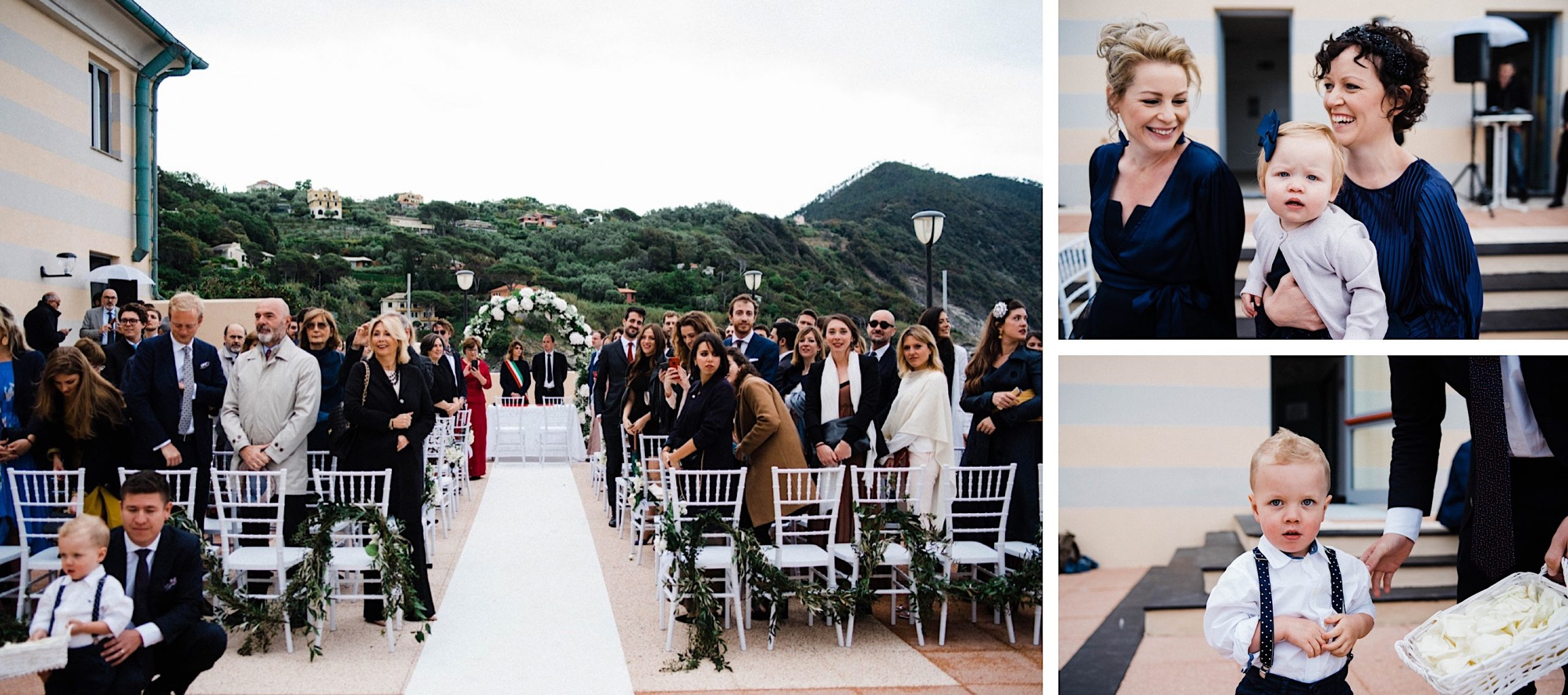 Photos from a Wedding Ceremony at the ex-Convento dell'Annunziata in Sestri Levante, including the Ceremony set-up and candid photos of guests.