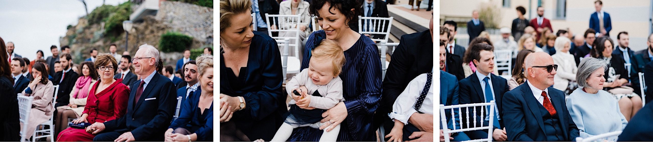 Three Candid Destination Wedding Photos of guests at a Wedding Ceremony in Sestri Levante, featuring the parents of the Bride & Groom and their ring bearer.