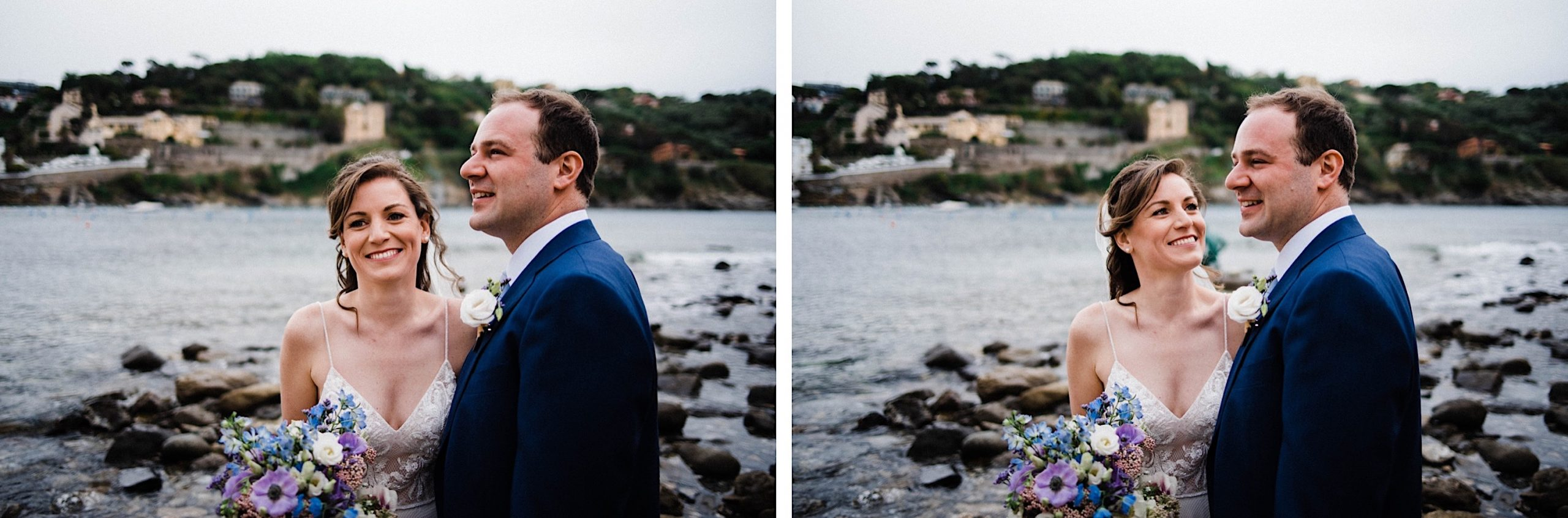 Two destination wedding portraits of a bride & groom laughing in front of the Bay of Silence in Sestri Levante.
