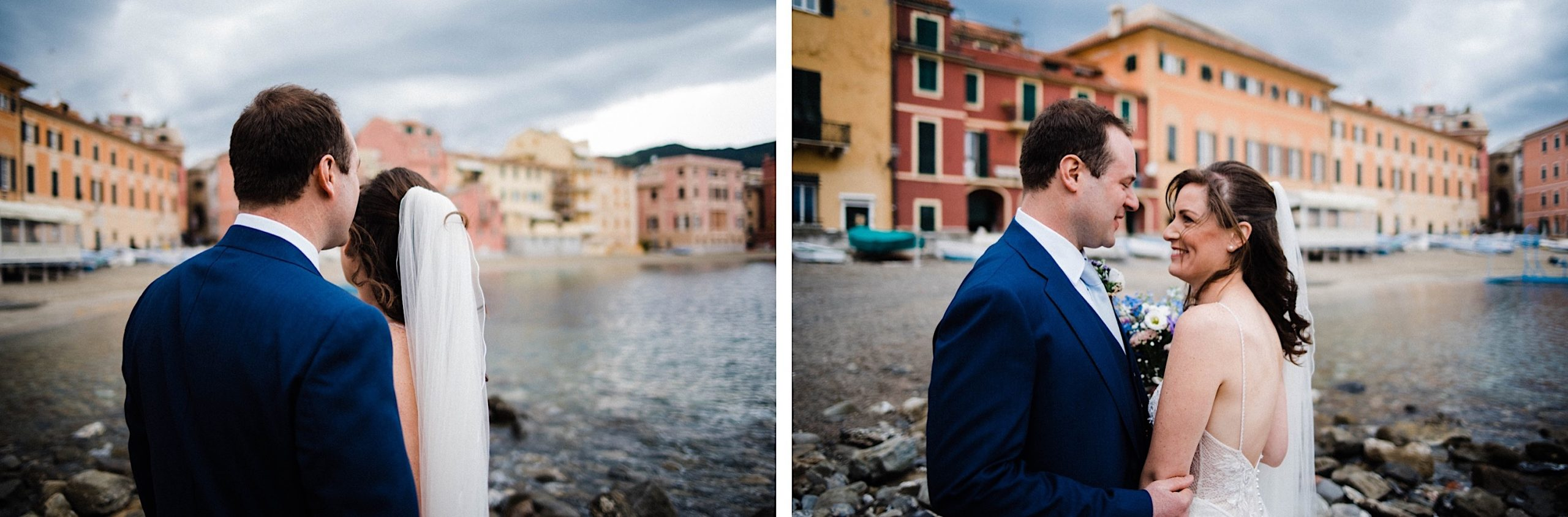 Two natural wedding portraits of a bride & groom standing together in front of the buildings lining the Bay of Silence.