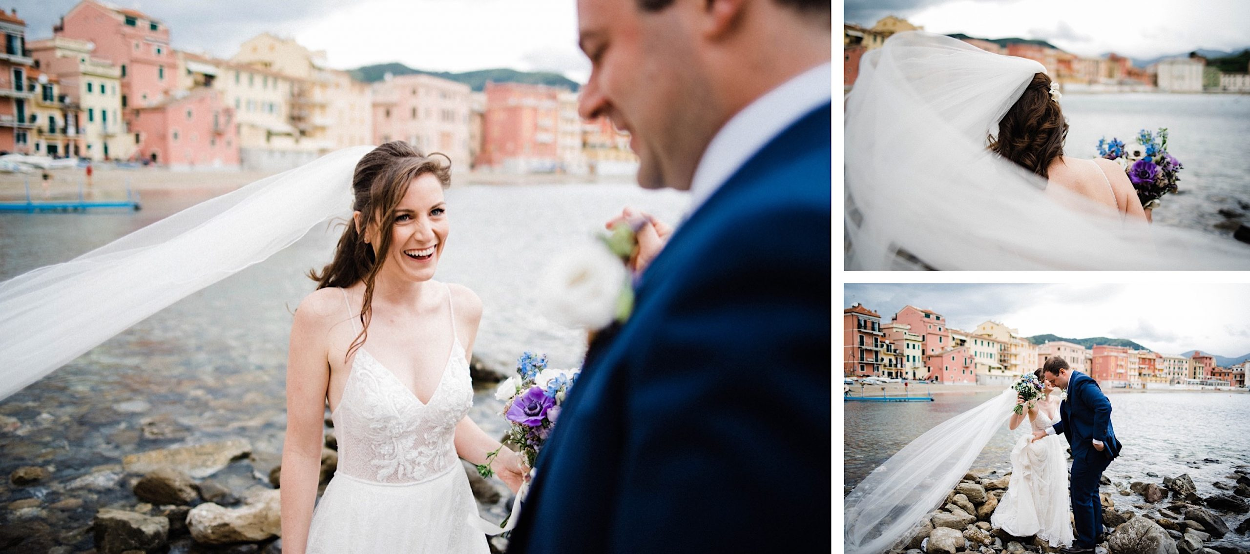 A three-photo collage of Natural Destination Wedding Photography of a bride & groom laughing as they walk over the rocks at the Baia di Silenzio.