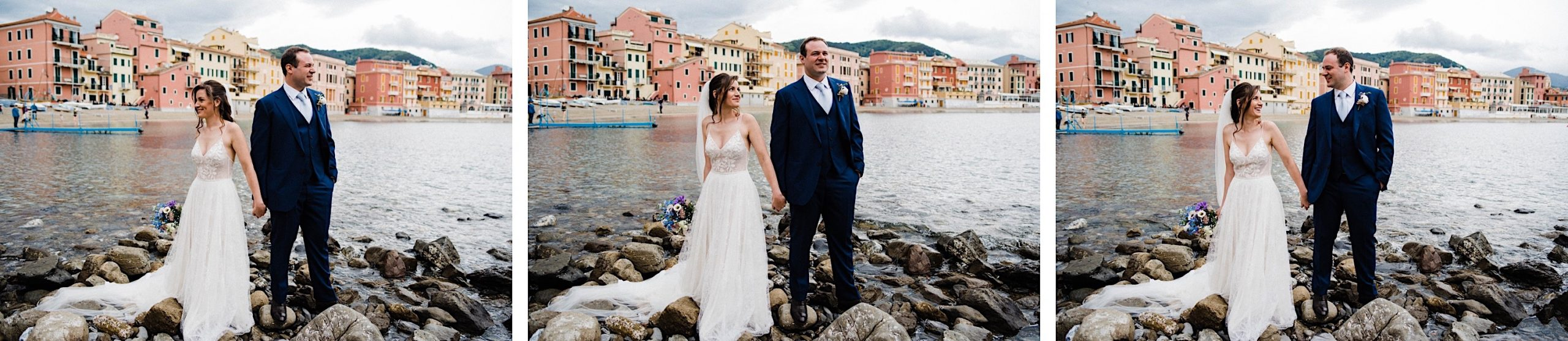 Three photos of a bride & groom moving towards each other at their Italian Riviera Wedding.