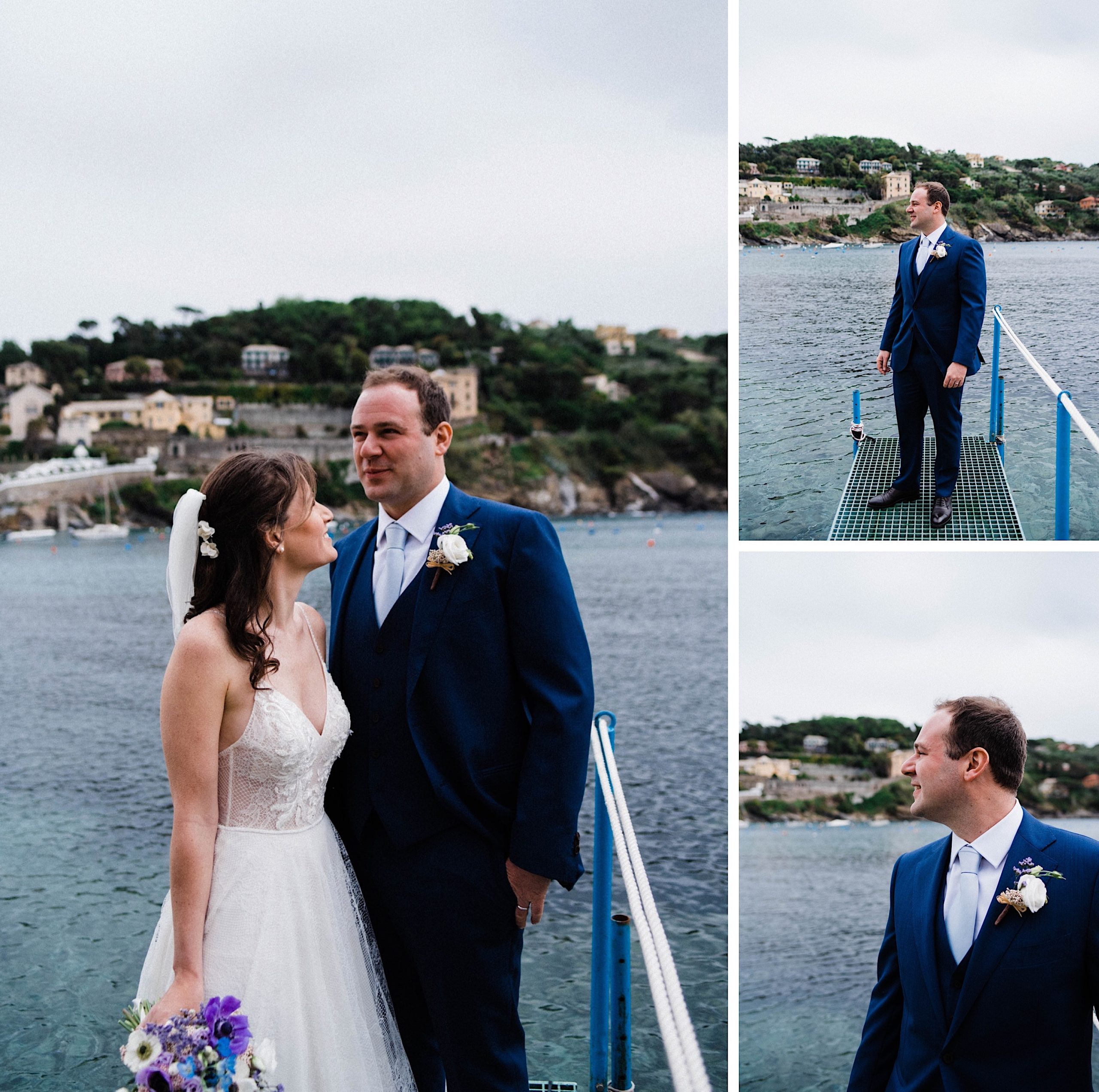 Three Destination Wedding Photos - one of a bride & groom standing together, and two of the groom looking out over the Bay of Silence.