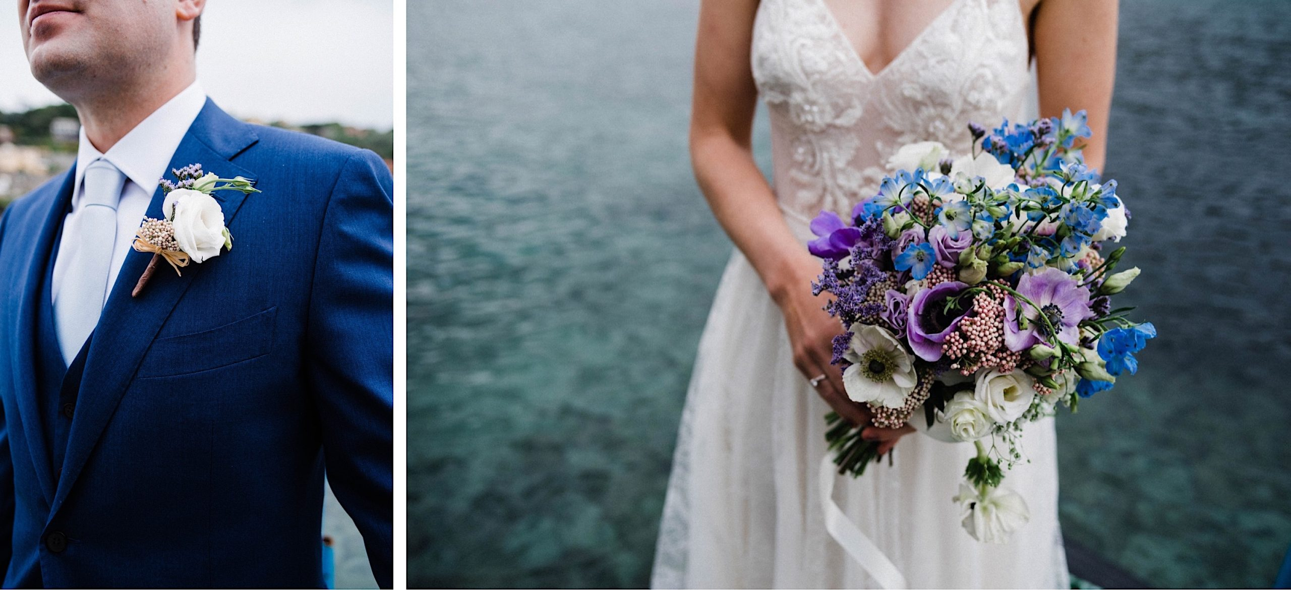 Two detail photos of the bride's bouquet and the groom's buttonhole at their Destination Wedding on the Italian Riviera.