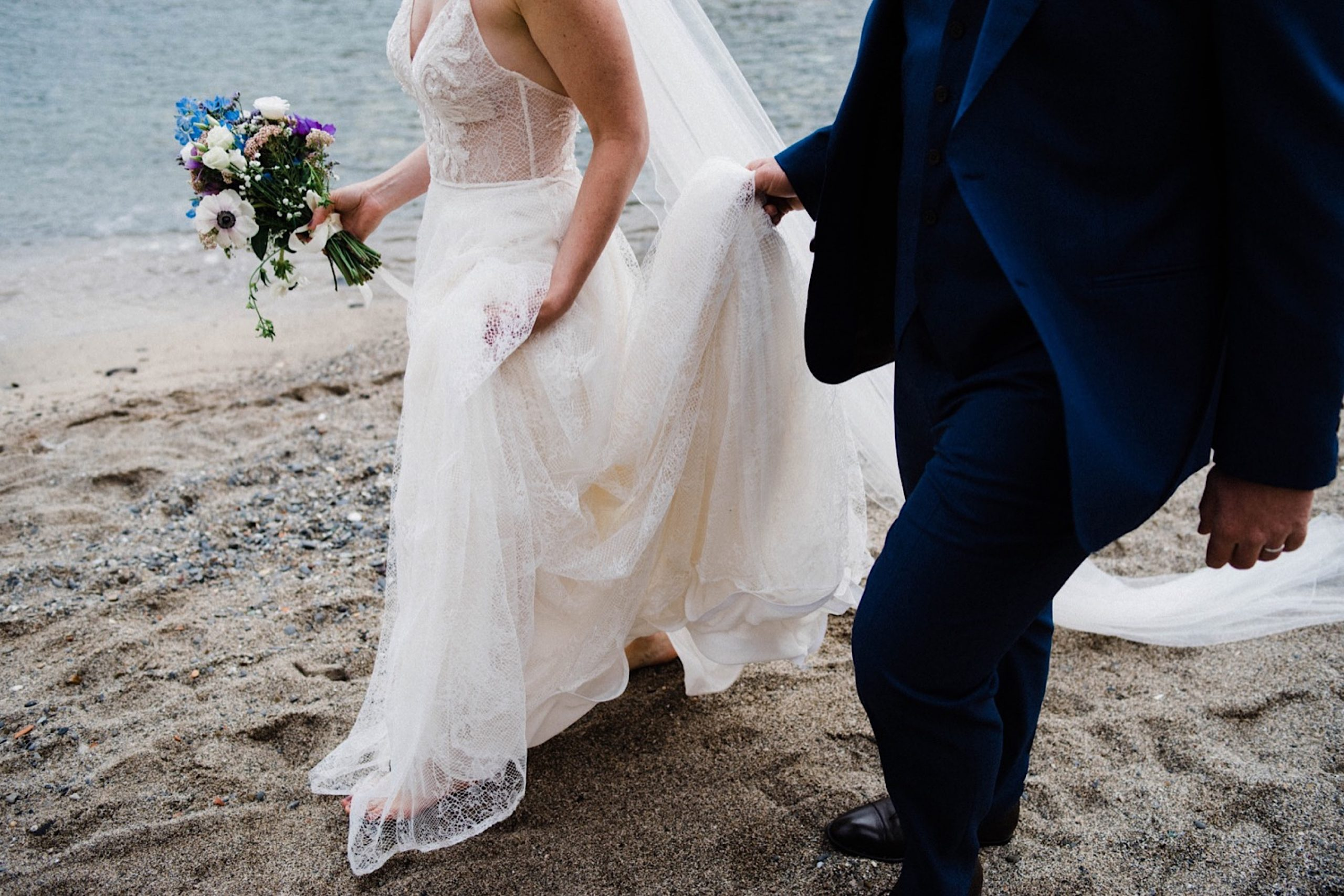 Natural Destination Wedding Photography in Italy of the bride & groom walking together.