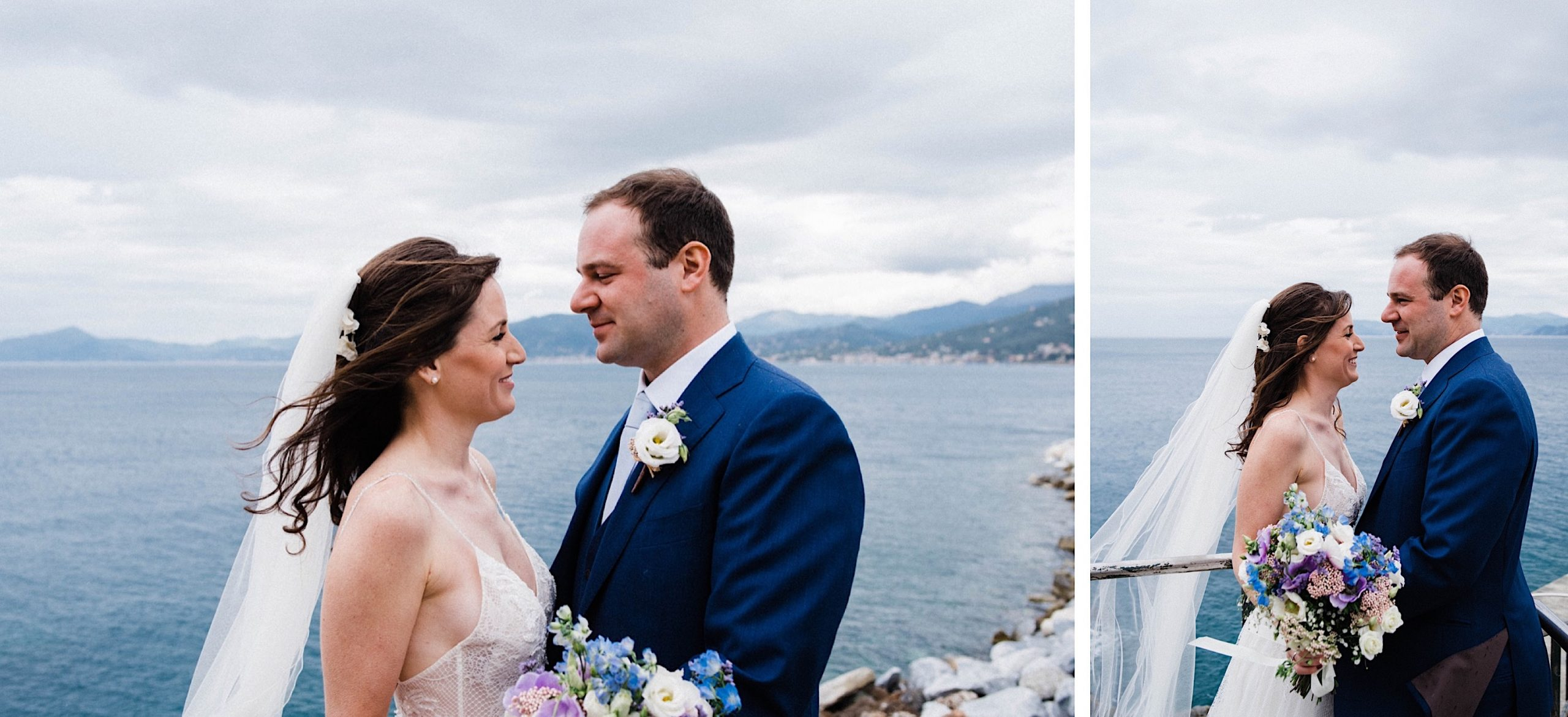 Two wedding portraits of the bride & groom at the docks in Sestri Levante looking over the Meditteranean.