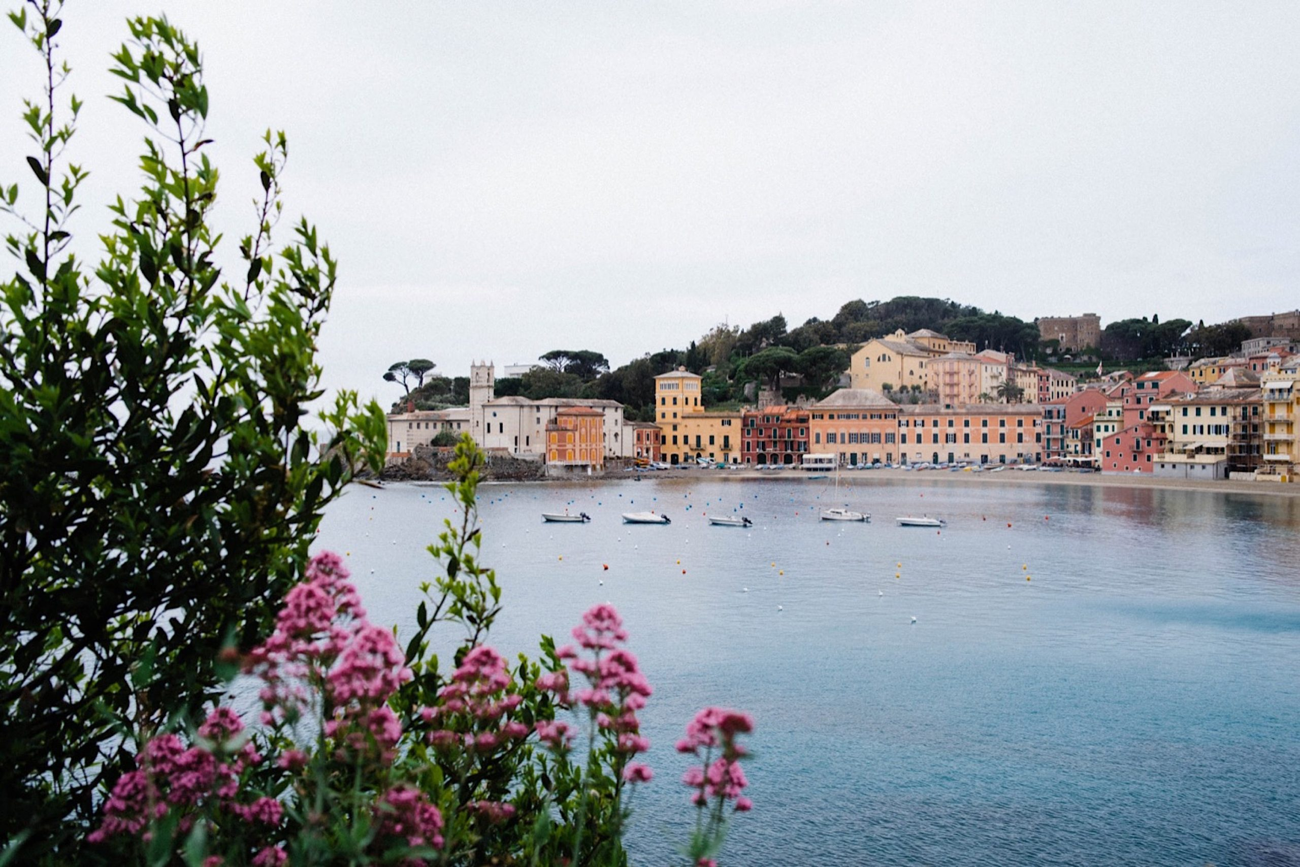 A landscape photo looking out over the Bay of Silence, taking during a Destination Wedding at the Italian Riviera.