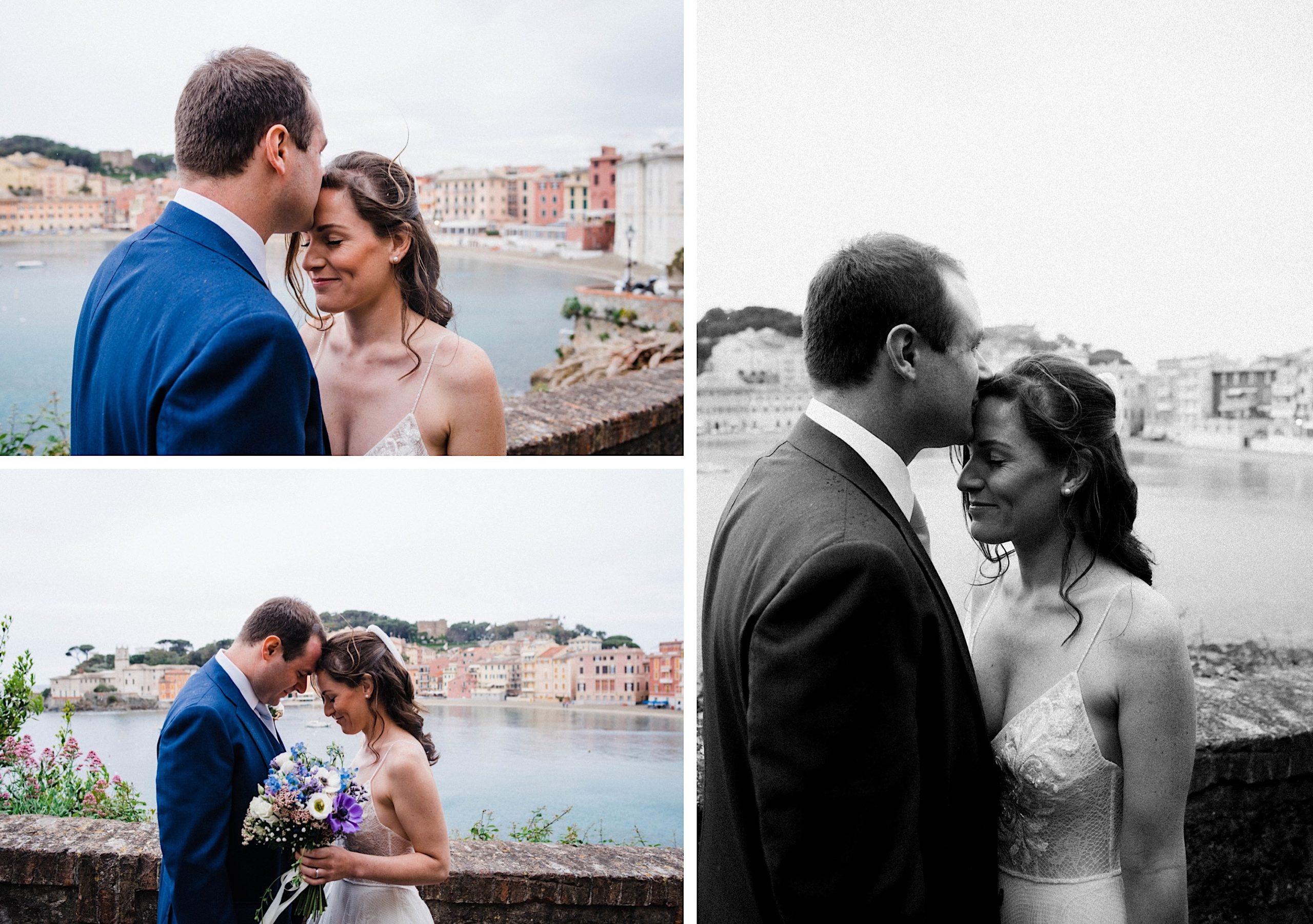 Three romantic destination wedding portraits of a newly married couple standing at a lookout over the Bay of Silence.
